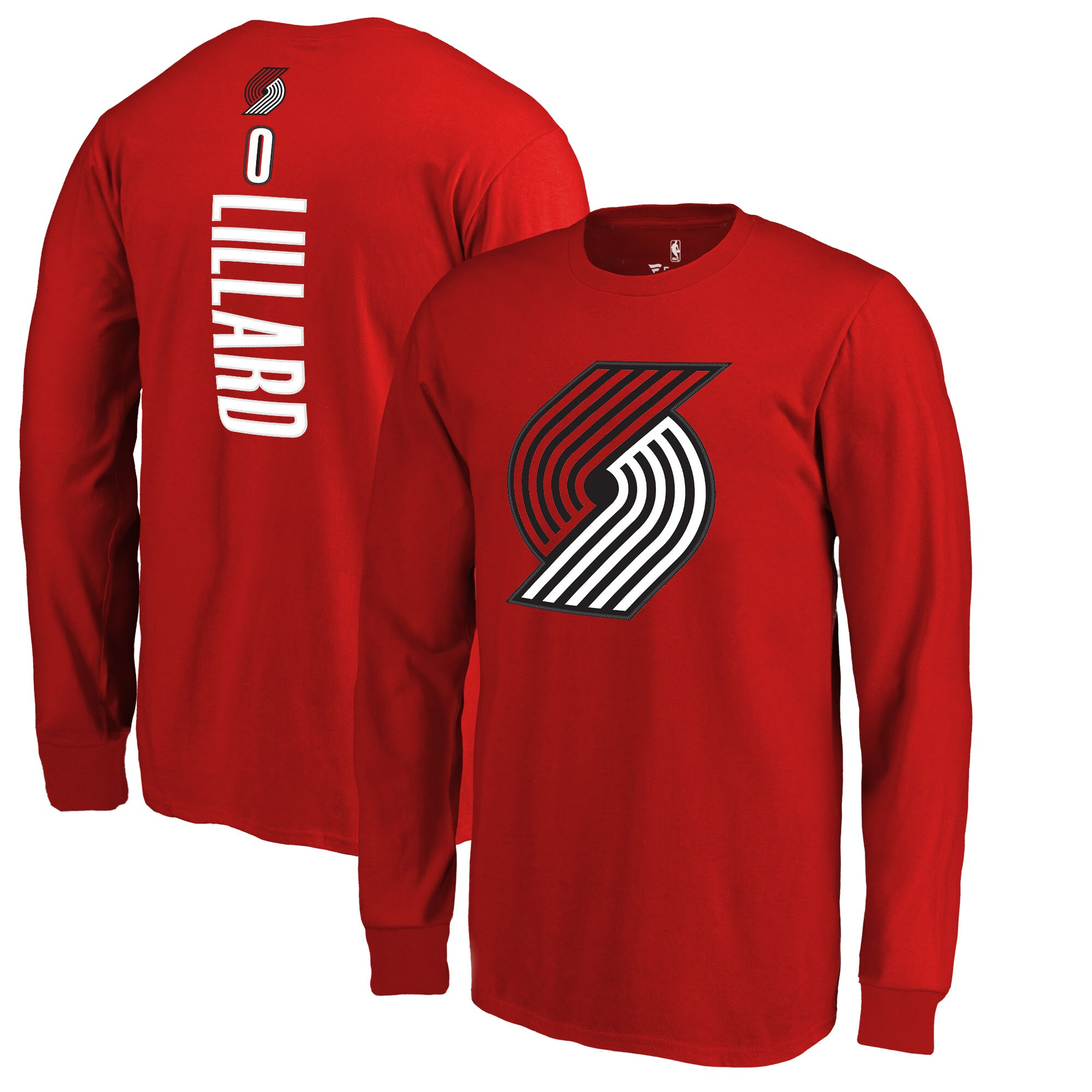Damian Lillard Portland Trail Blazers Fanatics Branded Youth Team Backer Name & Number Long Sleeve T-Shirt - Red
