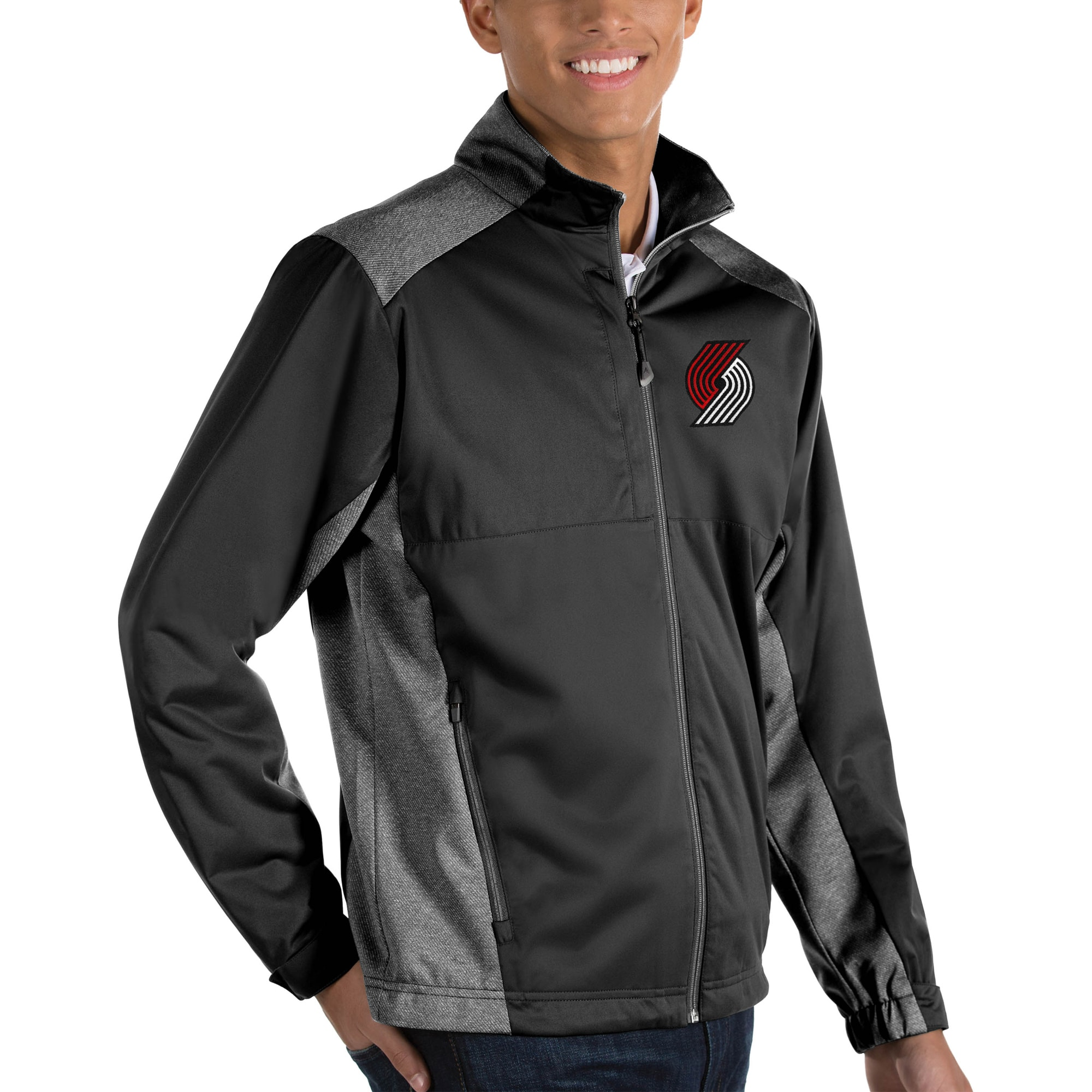Portland Trail Blazers Antigua Revolve Big & Tall Full-Zip Jacket - Black