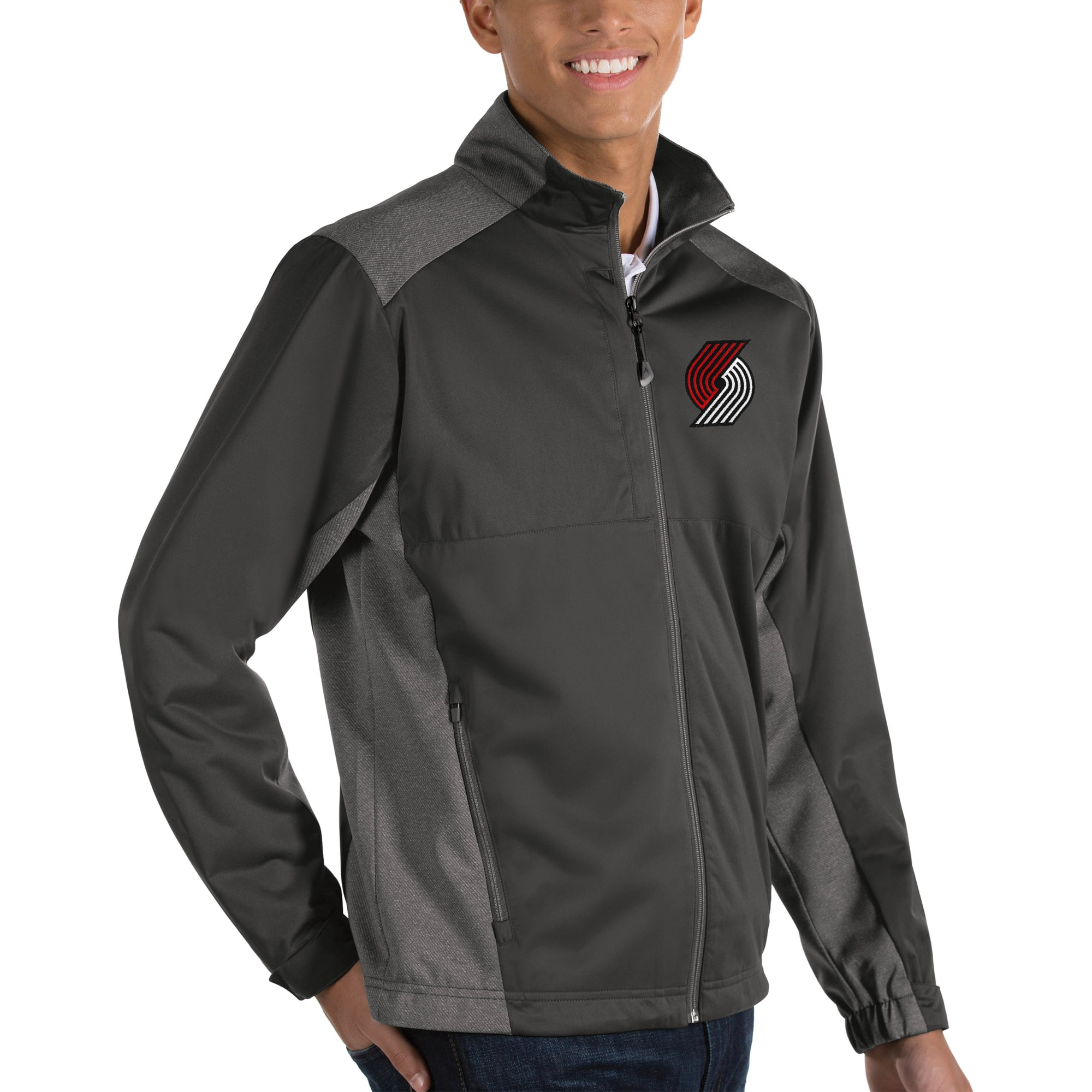 Portland Trail Blazers Antigua Revolve Big & Tall Full-Zip Jacket - Charcoal