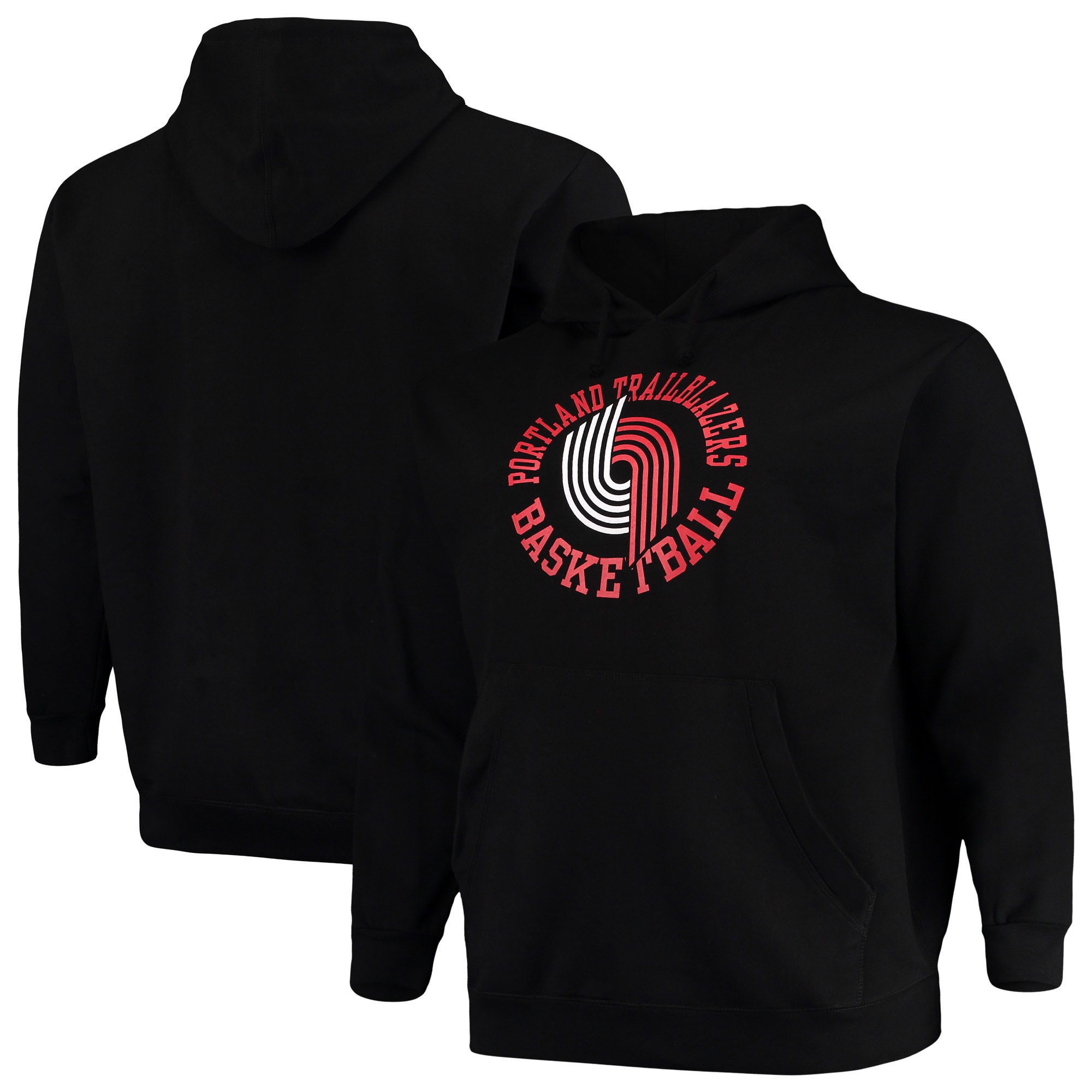 Portland Trail Blazers Mitchell & Ness Big & Tall Throwback Logo Pullover Hoodie - Black