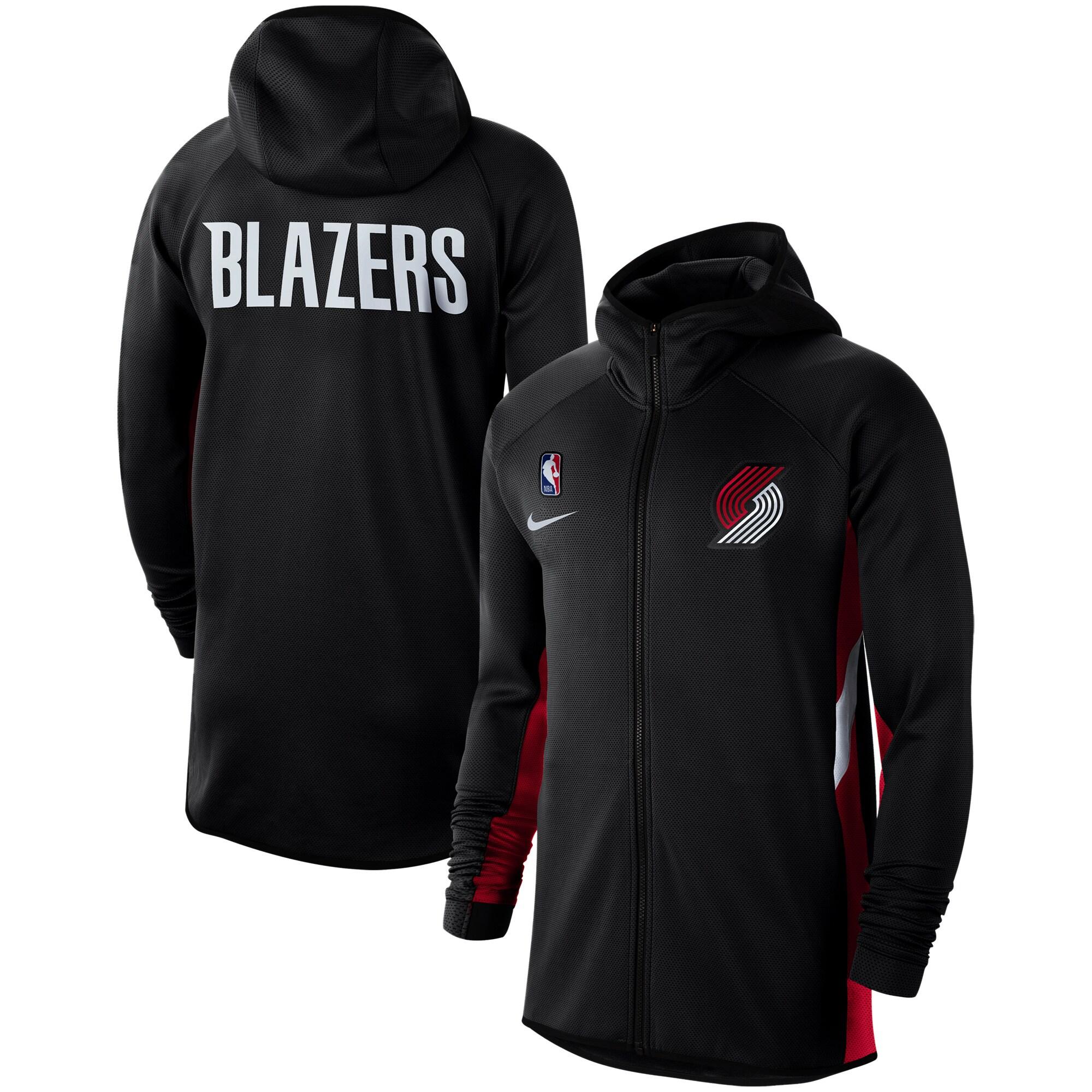 Portland Trail Blazers Nike Authentic Showtime Therma Flex Performance Full-Zip Hoodie - Black