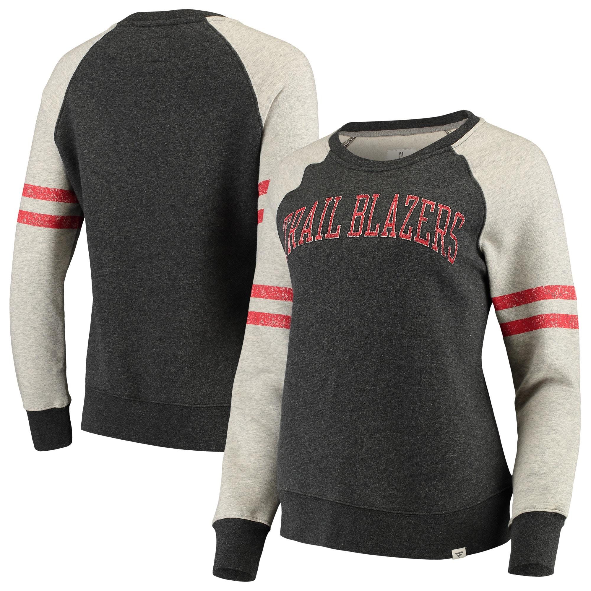 Portland Trail Blazers Fanatics Branded Women's True Classics Fleece Pullover Sweatshirt - Heathered Gray