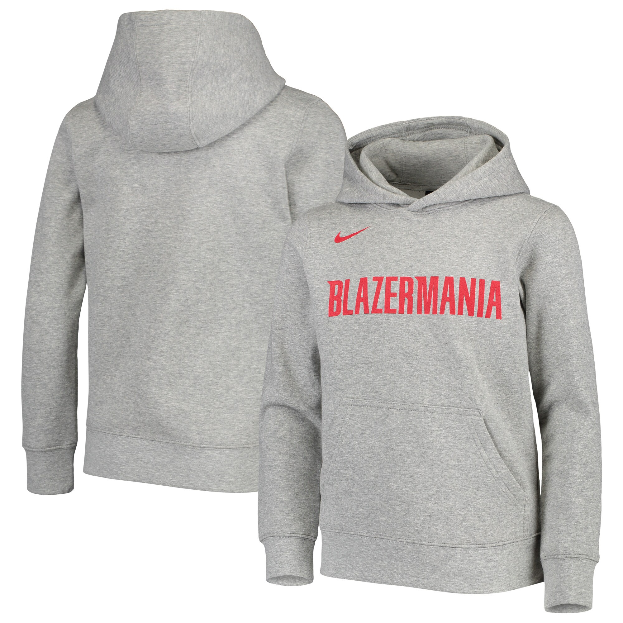Portland Trail Blazers Nike Youth Earned Edition Logo Essential Pullover Hoodie - Heathered Gray