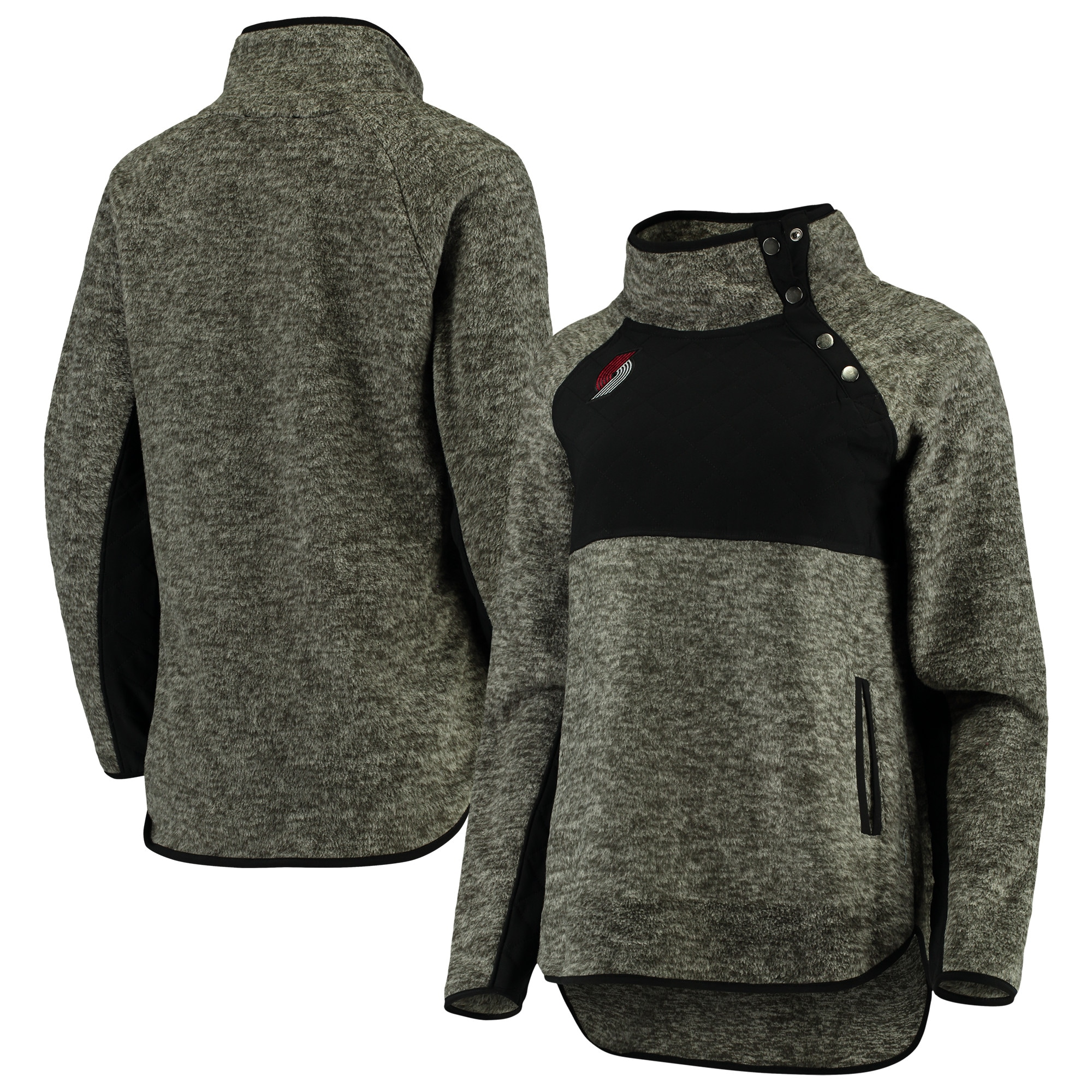 Portland Trail Blazers Women's Sidenote Quilted Snap-Up Pullover Jacket - Black