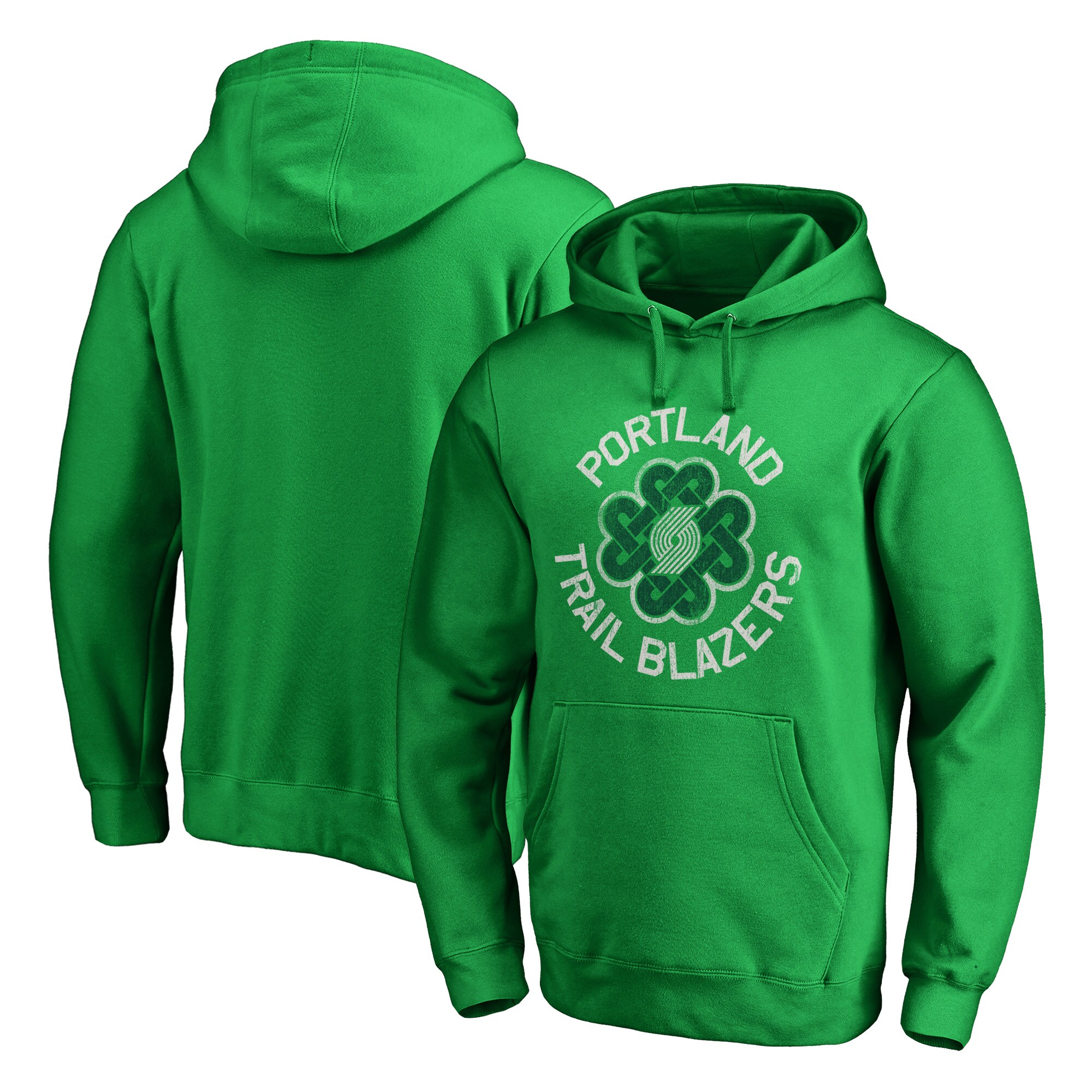 Portland Trail Blazers Fanatics Branded St. Patrick's Day Luck Tradition Pullover Hoodie - Kelly Green