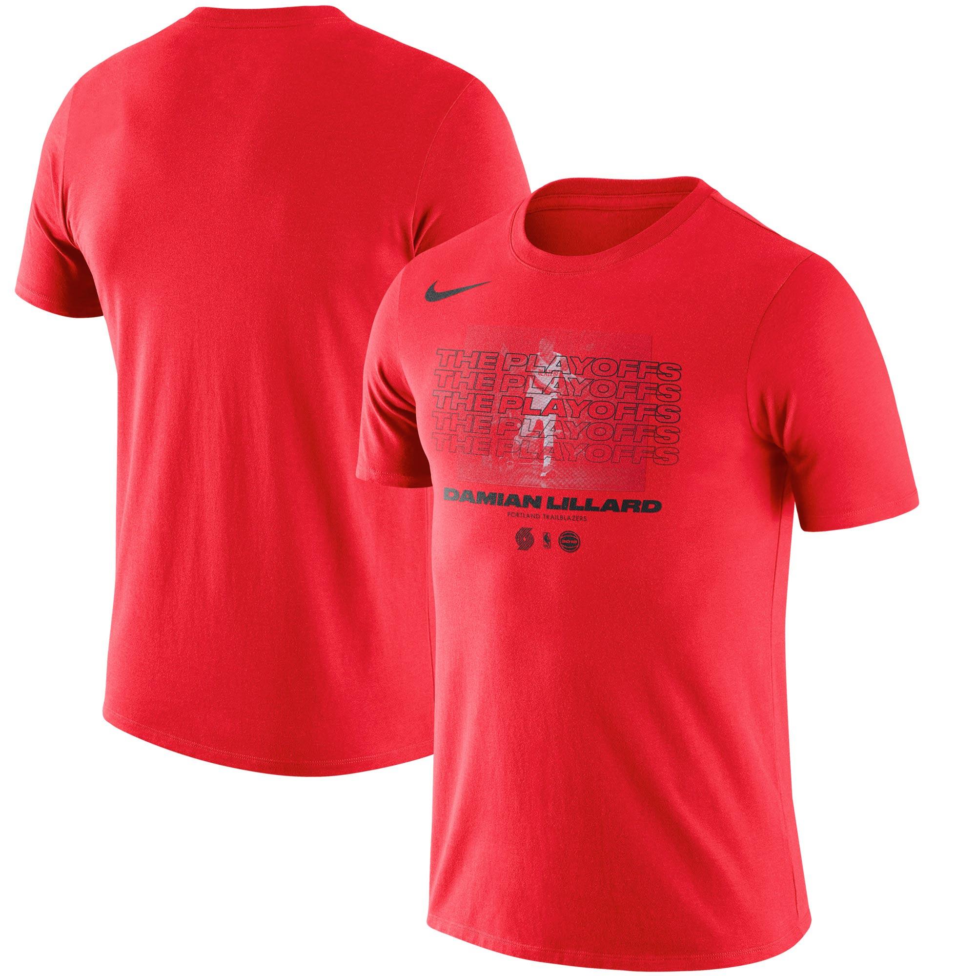 Damian Lillard Portland Trail Blazers Nike 2018 NBA Playoffs Player T-Shirt - Red