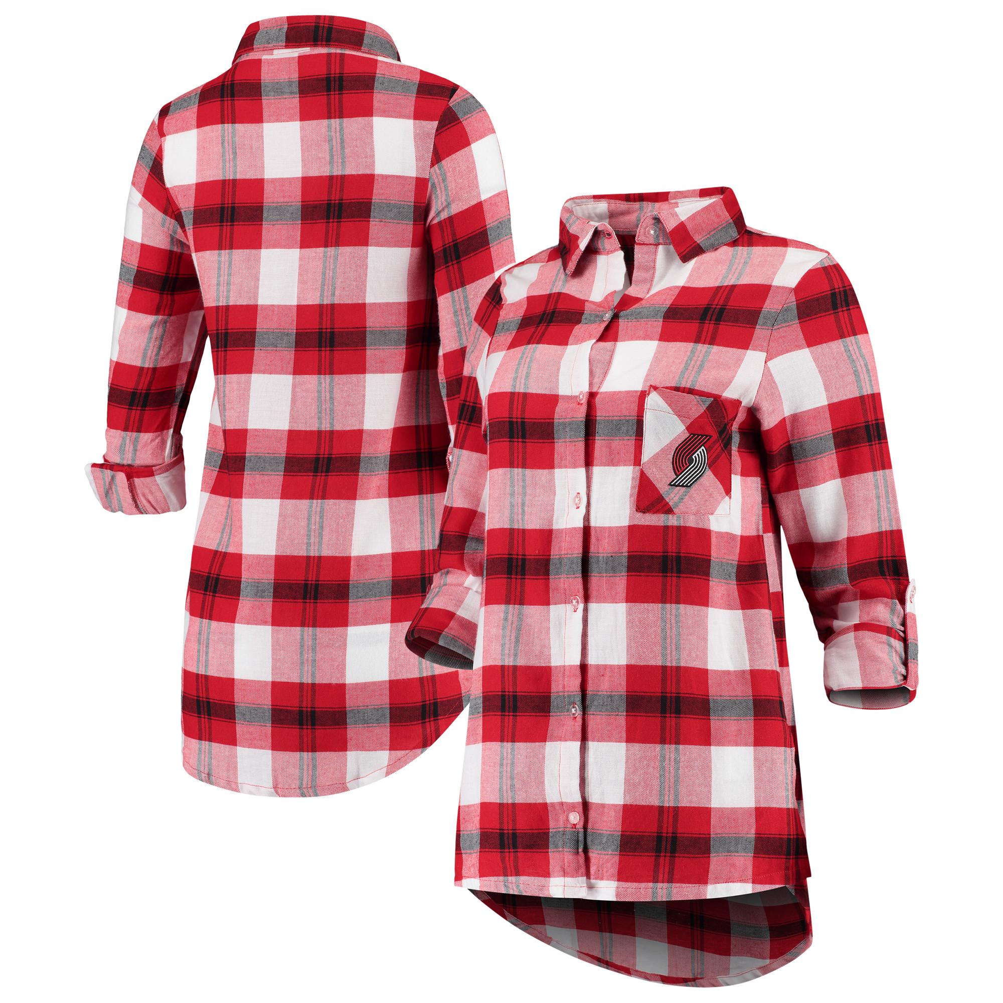 Portland Trail Blazers Concepts Sport Women's Headway Long Sleeve Plaid Tunic - Red/Black