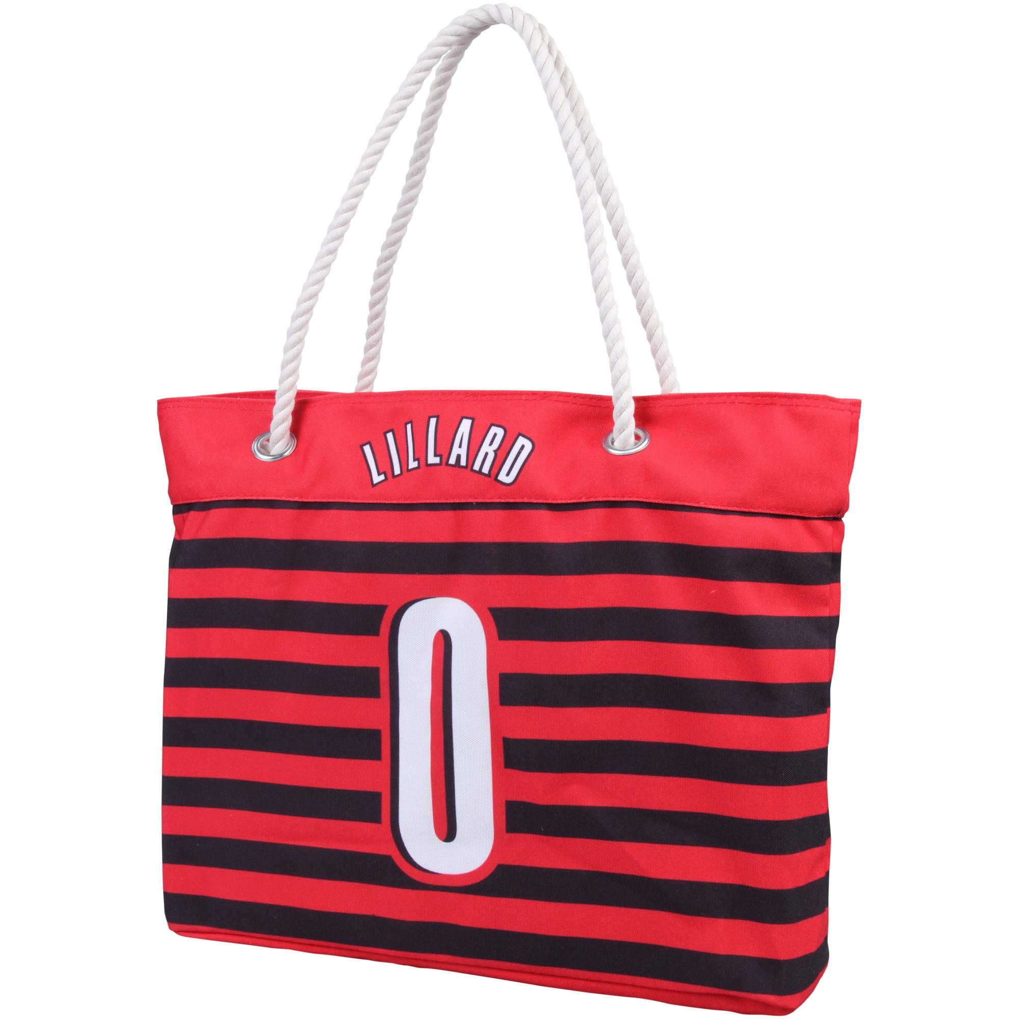 Damian Lillard Portland Trail Blazers Women's Player Nautical Stripe Tote Bag - Red