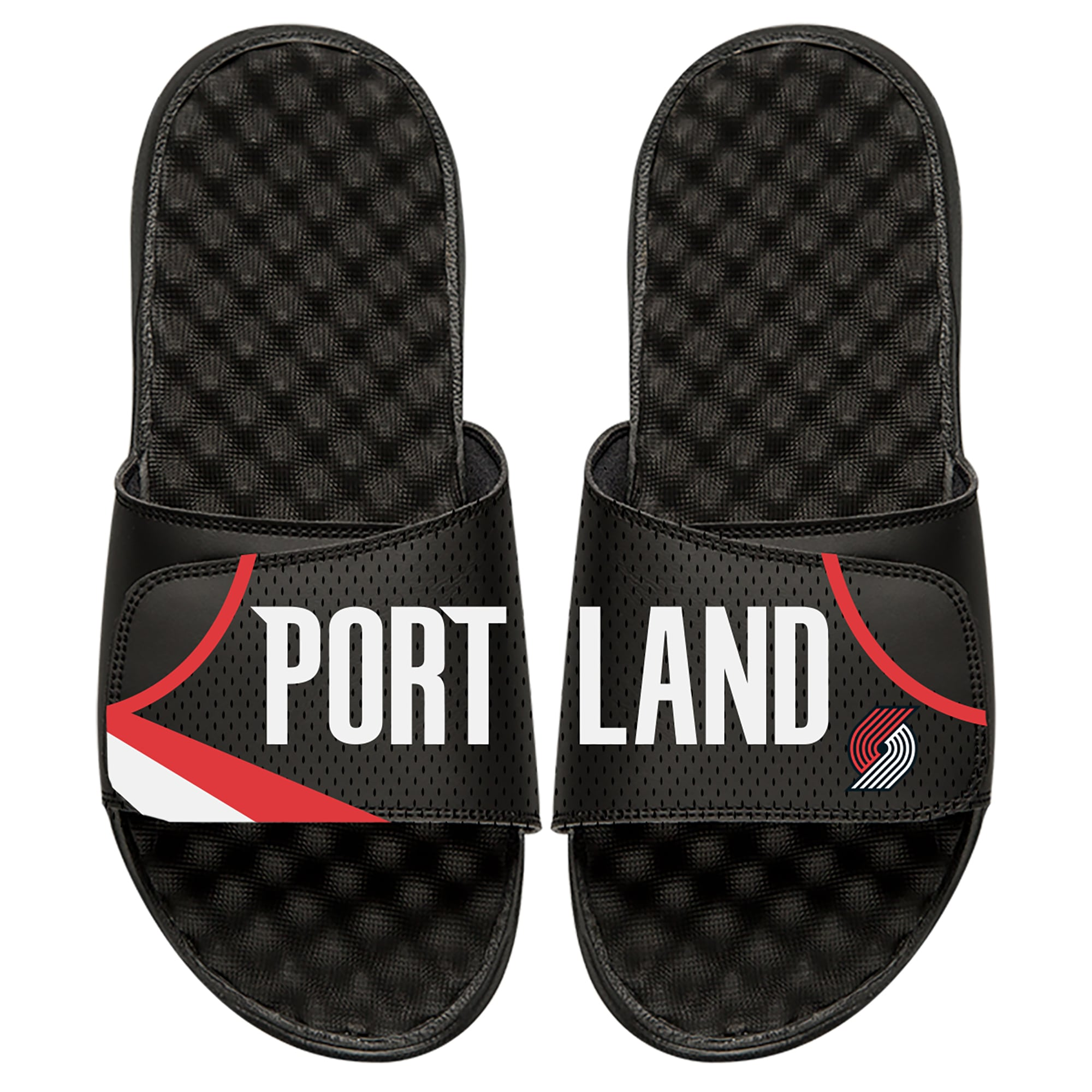 Portland Trail Blazers ISlide Away Jersey Split Slide Sandals - Black