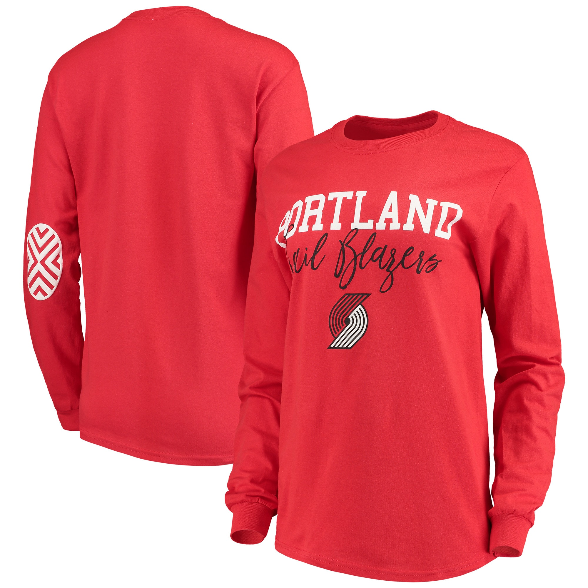 Portland Trail Blazers Women's Elbow Patch Long Sleeve T-Shirt - Red