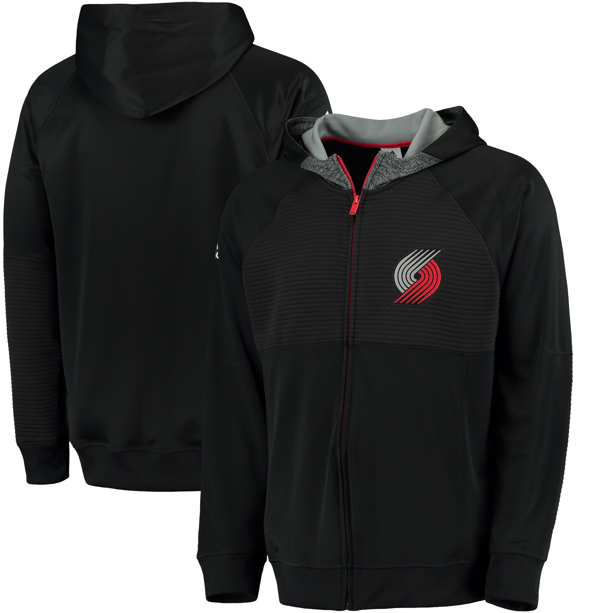 Portland Trail Blazers adidas 2016 Pre-Game Full-Zip Hooded Jacket - Black