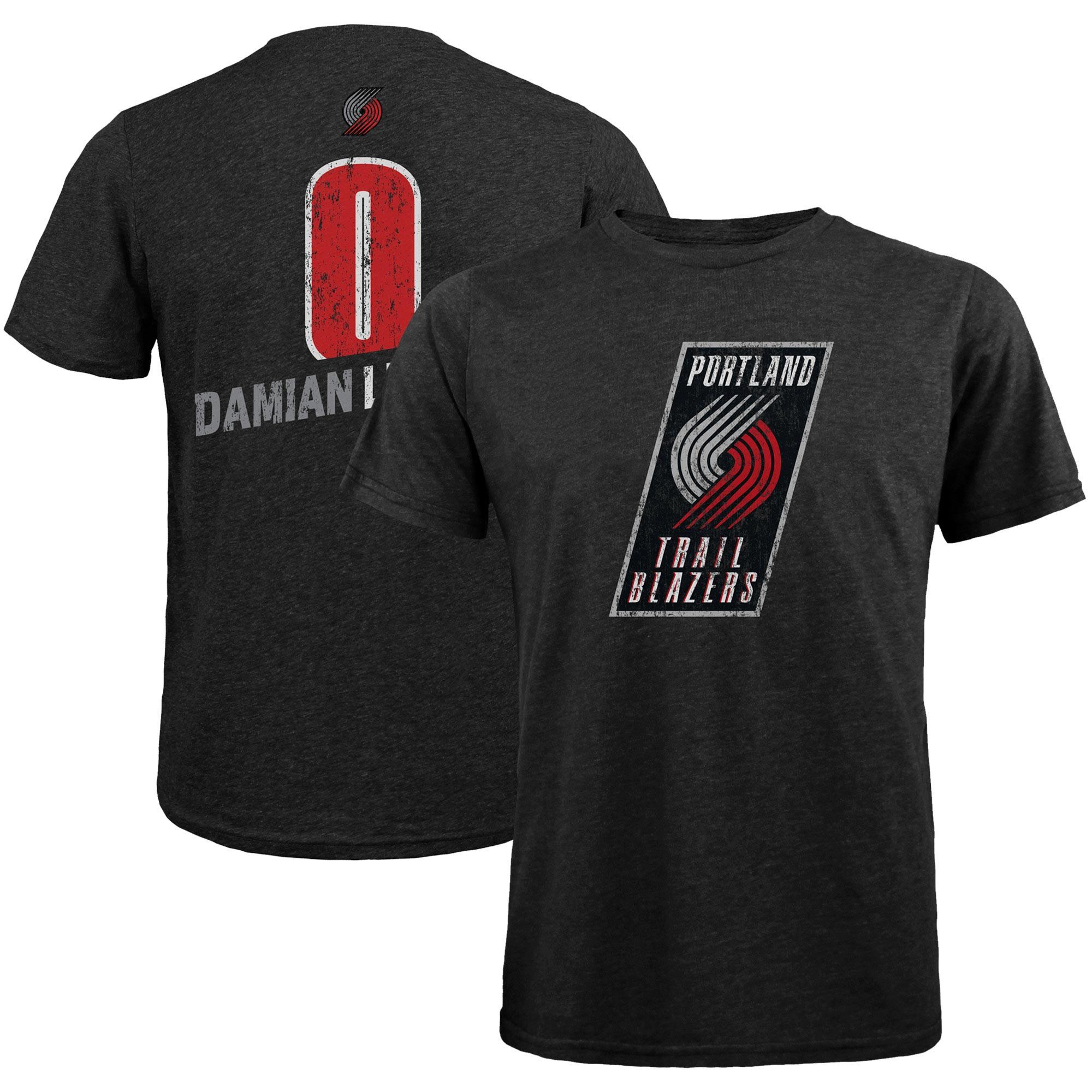 Damian Lillard Portland Trail Blazers Majestic Threads Name & Number Tri-Blend T-Shirt - Black