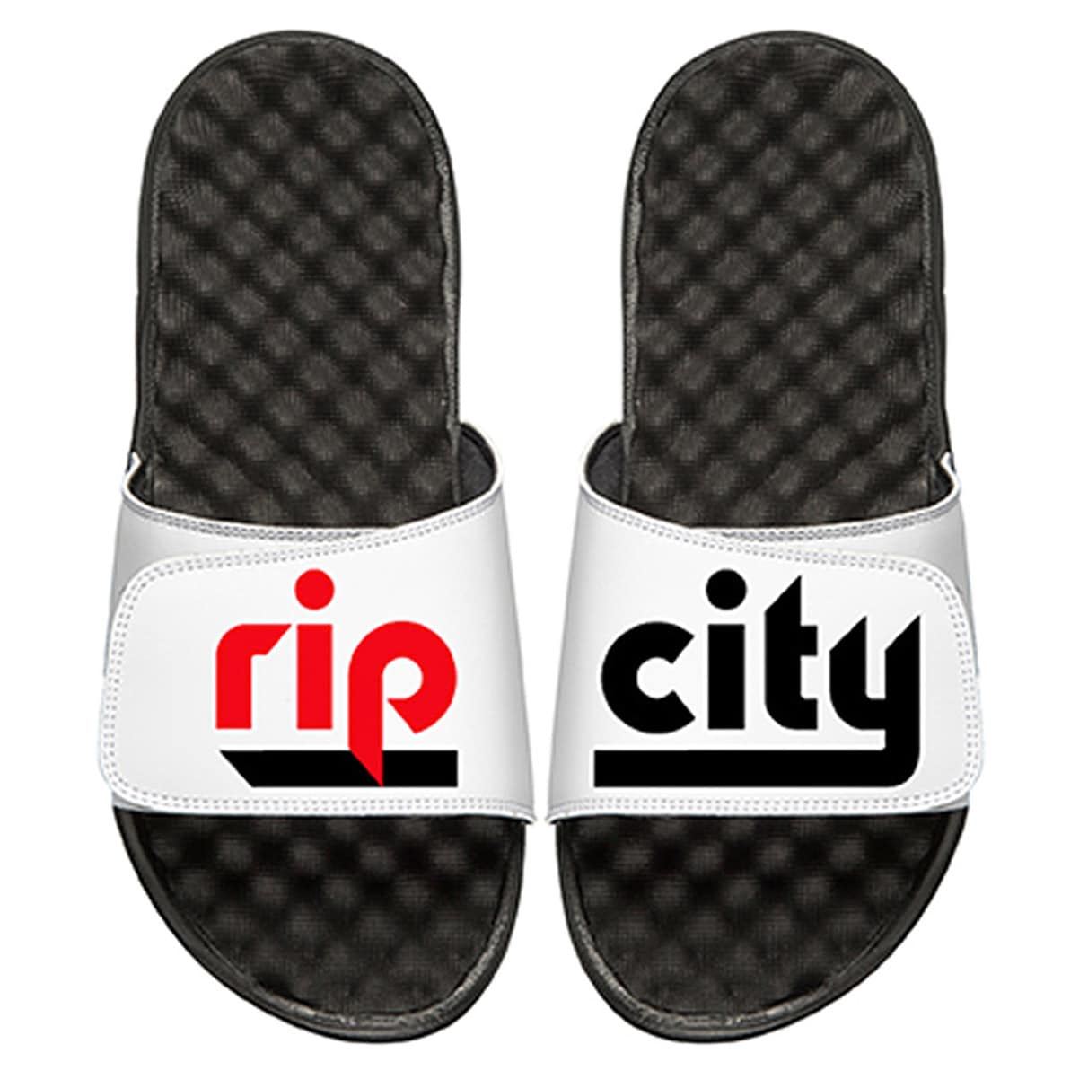Portland Trail Blazers ISlide Team Slogan Slide Sandals - Black/White