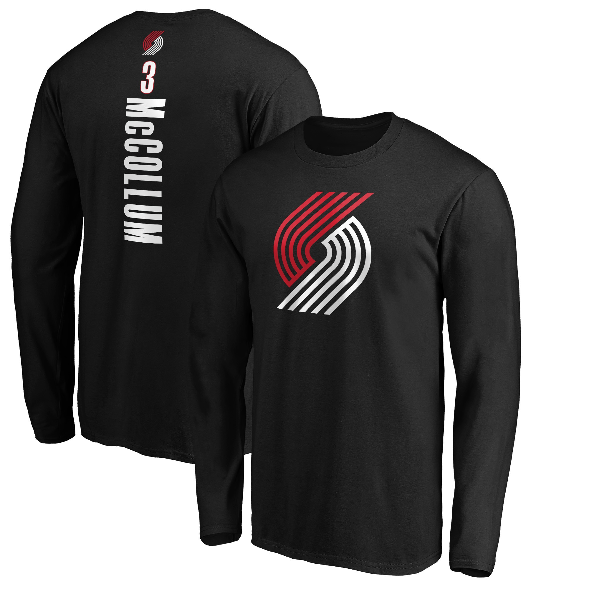 C.J. McCollum Portland Trail Blazers Fanatics Branded Team Playmaker Name & Number Long Sleeve T-Shirt - Black
