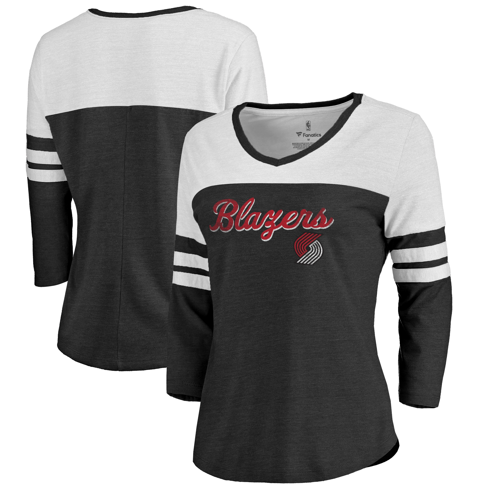 Portland Trail Blazers Fanatics Branded Women's Rising Script Color Block 3/4 Sleeve Tri-Blend T-Shirt - Black