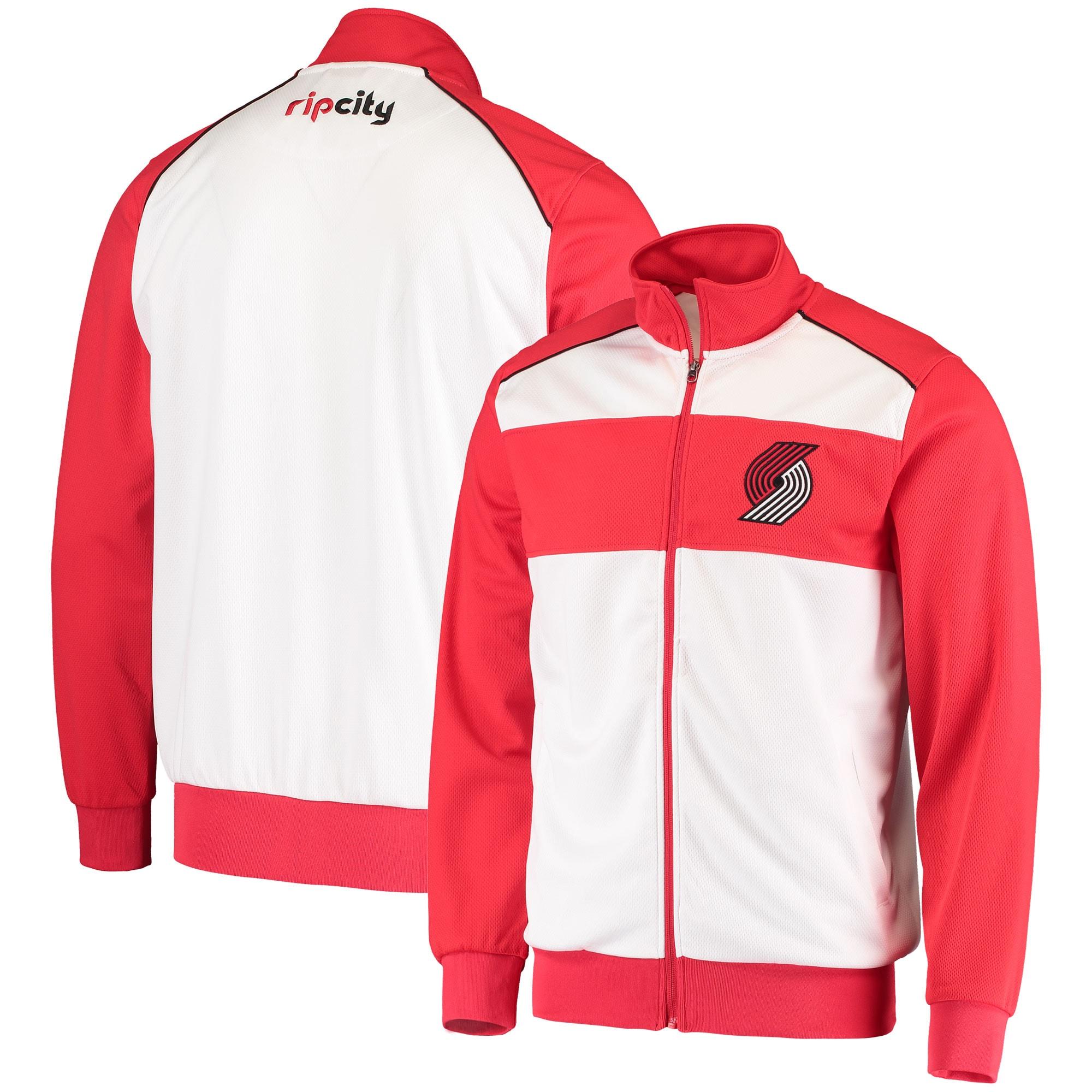 Portland Trail Blazers G-III Sports by Carl Banks Layup Full-Zip Track Jacket - White/Red