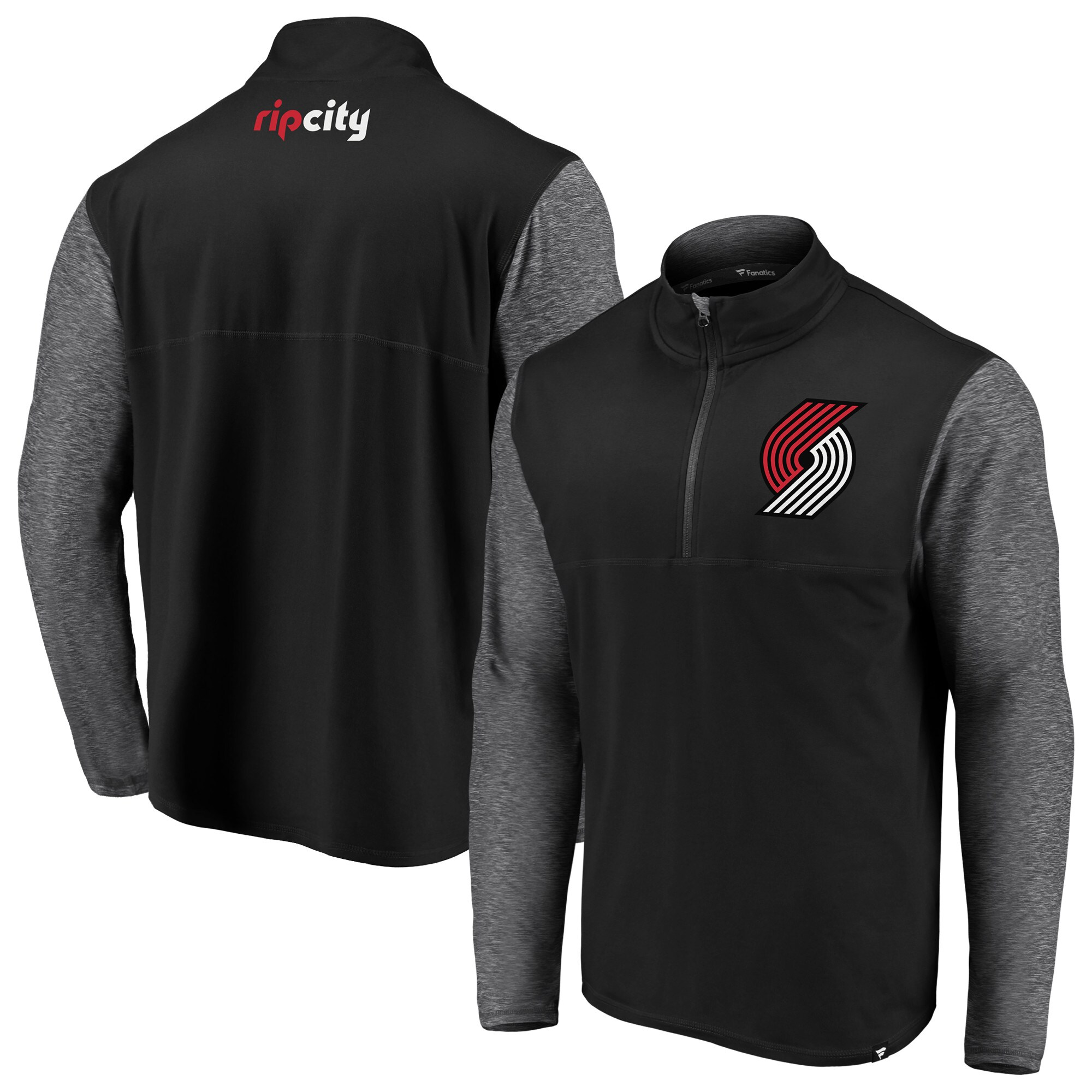 Portland Trail Blazers Fanatics Branded Made to Move Static Performance Quarter-Zip Pullover Jacket - Black/Heathered Black