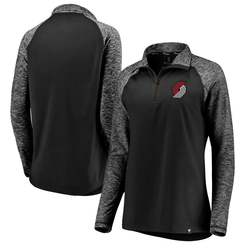 Portland Trail Blazers Fanatics Branded Women's Made to Move Static Performance Raglan Sleeve Quarter-Zip Pullover Jacket - Black/Heathered Black