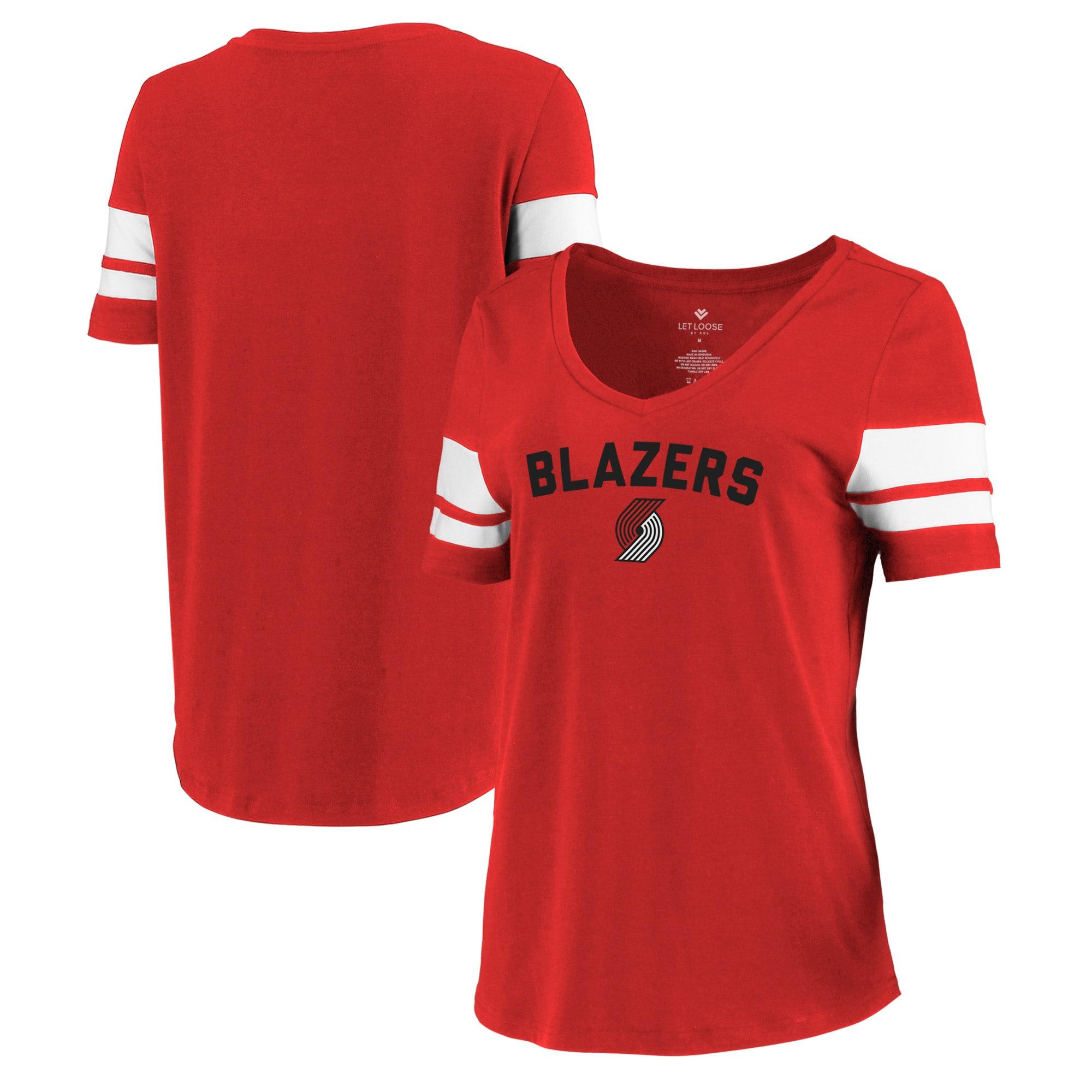 Portland Trail Blazers Let Loose by RNL Women's Scramble Two Stripe Tri-Blend T-Shirt - Red
