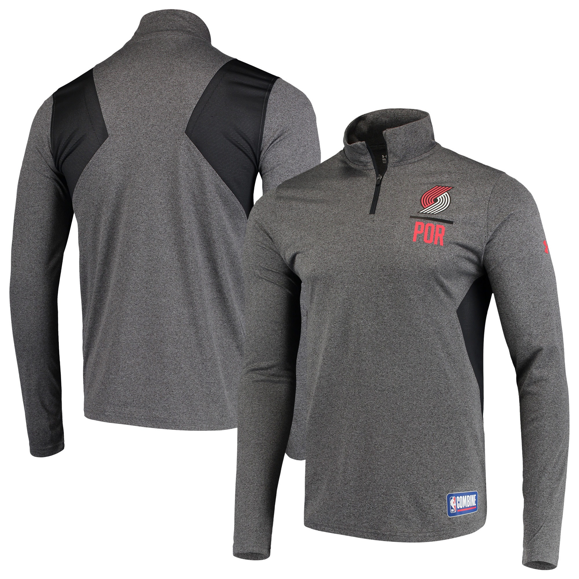 Portland Trail Blazers Under Armour Combine Authentic Season Tech Quarter-Zip Pullover Jacket - Heathered Charcoal