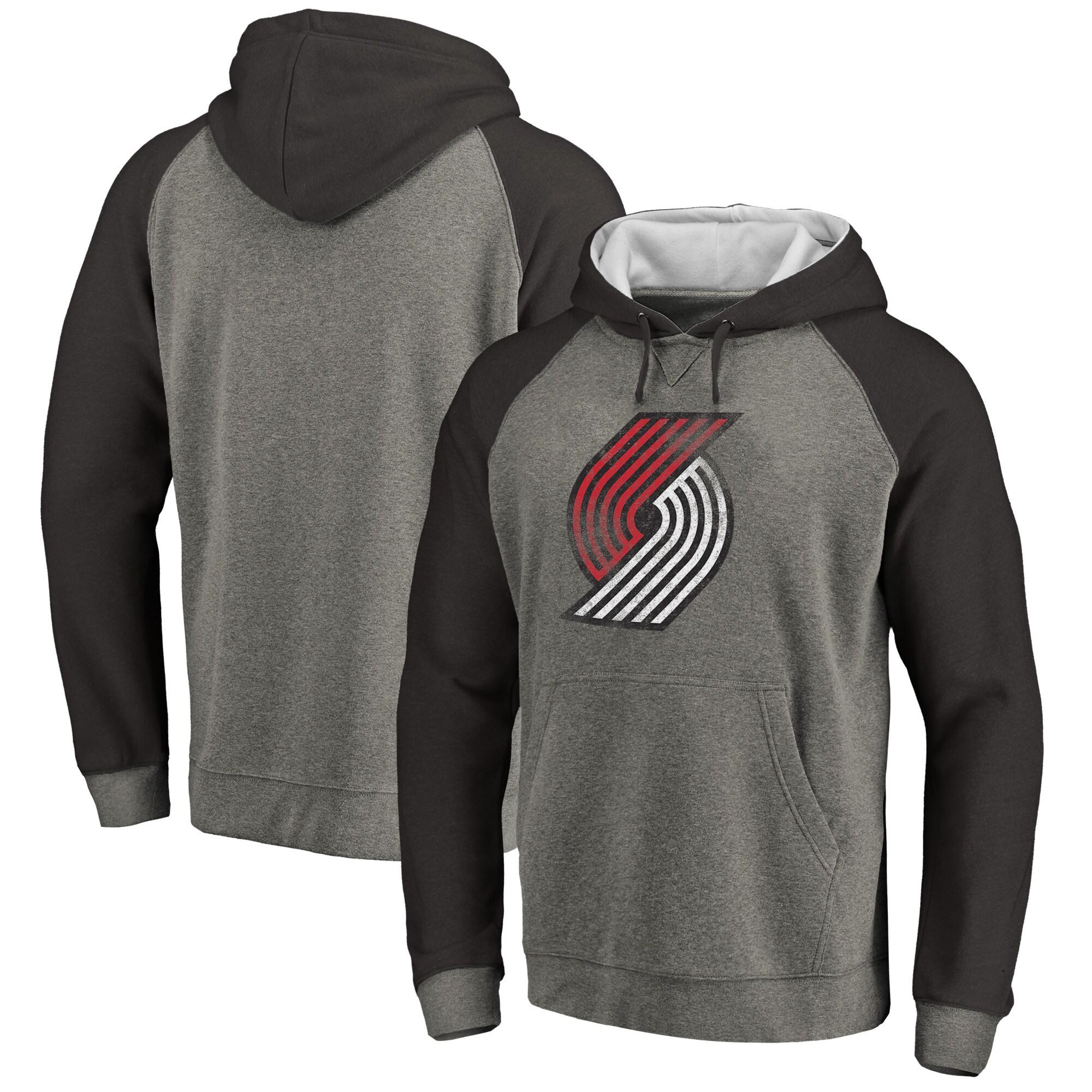 Portland Trail Blazers Fanatics Branded Distressed Logo Tri-Blend Pullover Hoodie - Ash/Black
