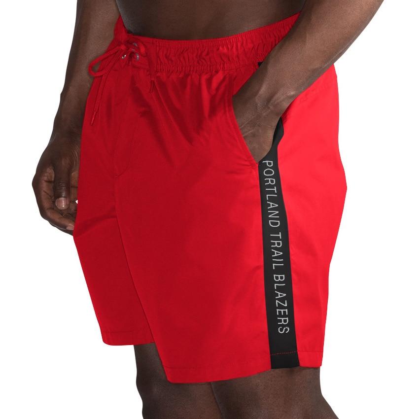 Portland Trail Blazers G-III Sports by Carl Banks Volley Swim Trunks - Red/Black