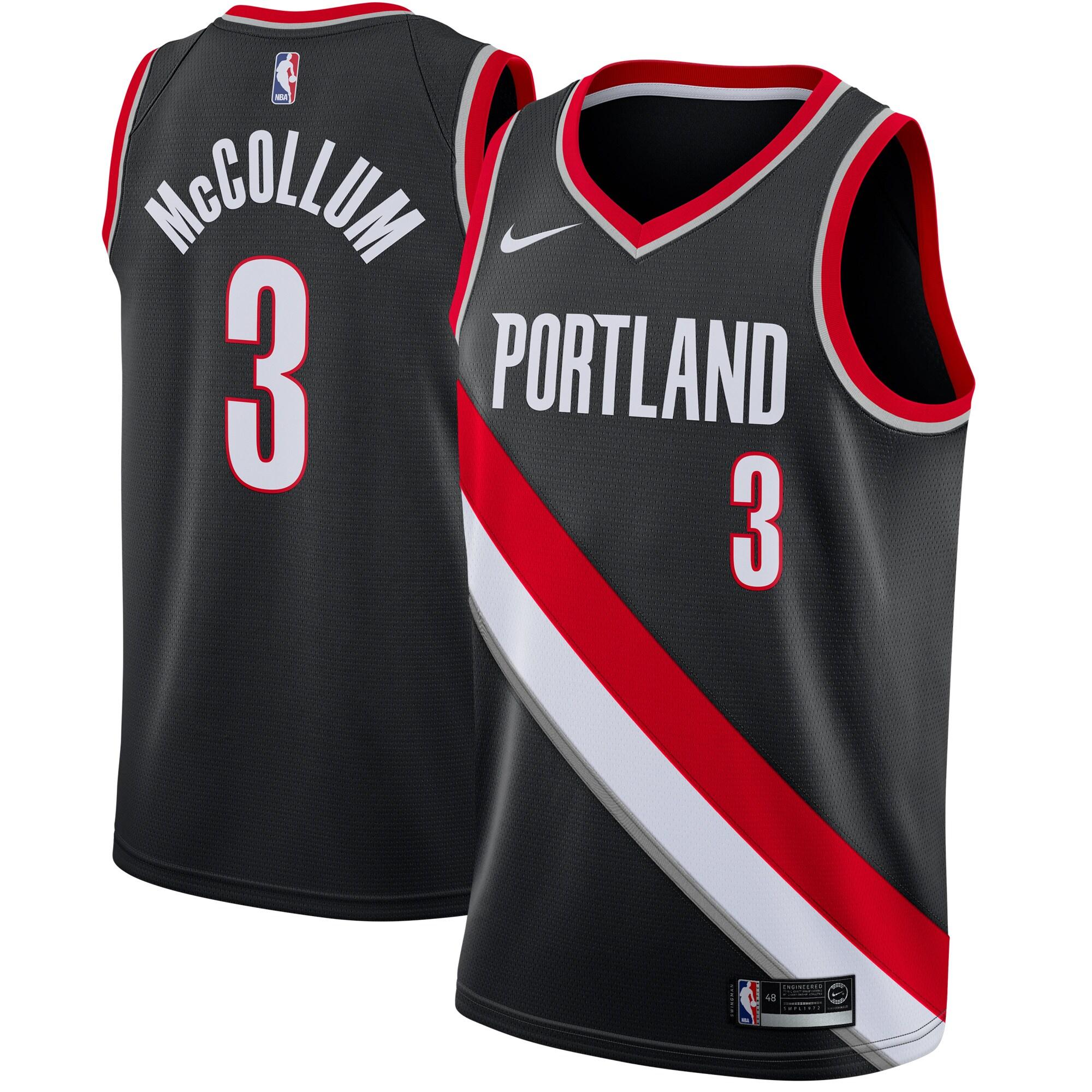 C.J. McCollum Portland Trail Blazers Nike Swingman Jersey Black - Icon Edition