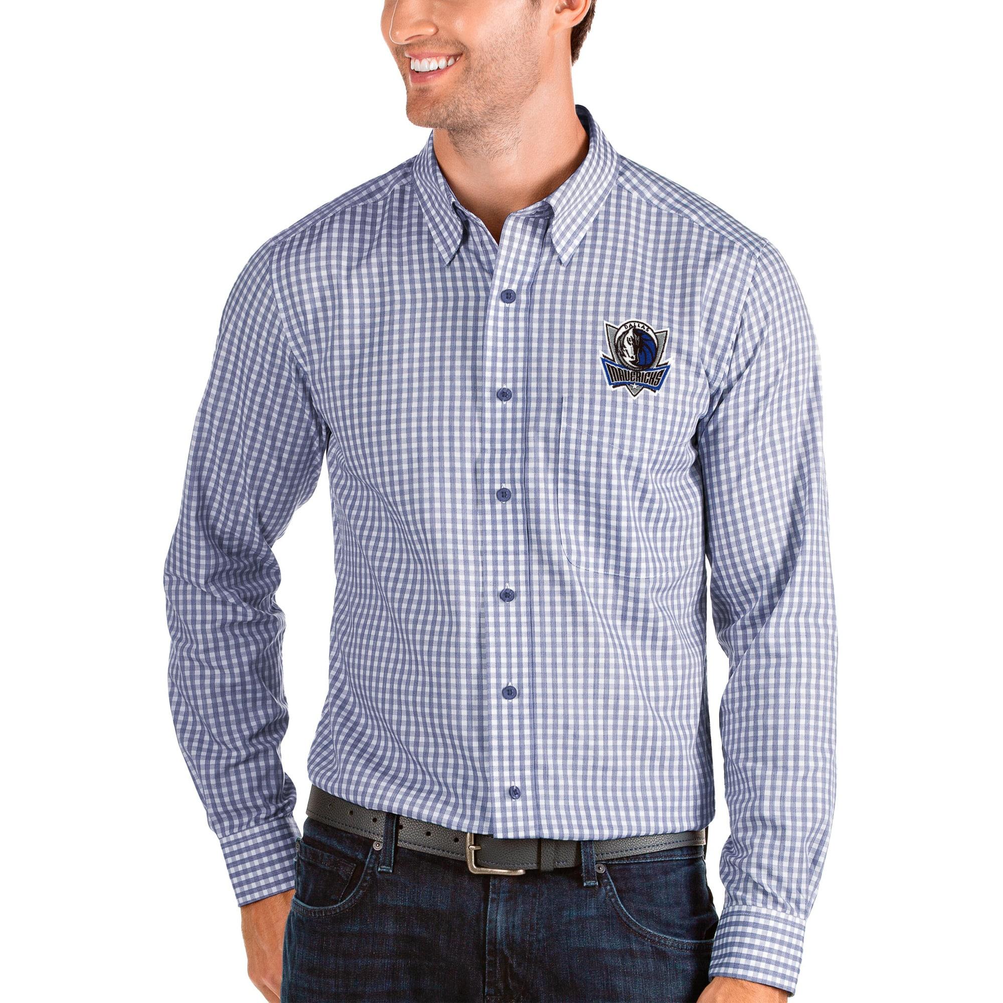 Dallas Mavericks Antigua Structure Long Sleeve Button-Up Shirt - Royal/White