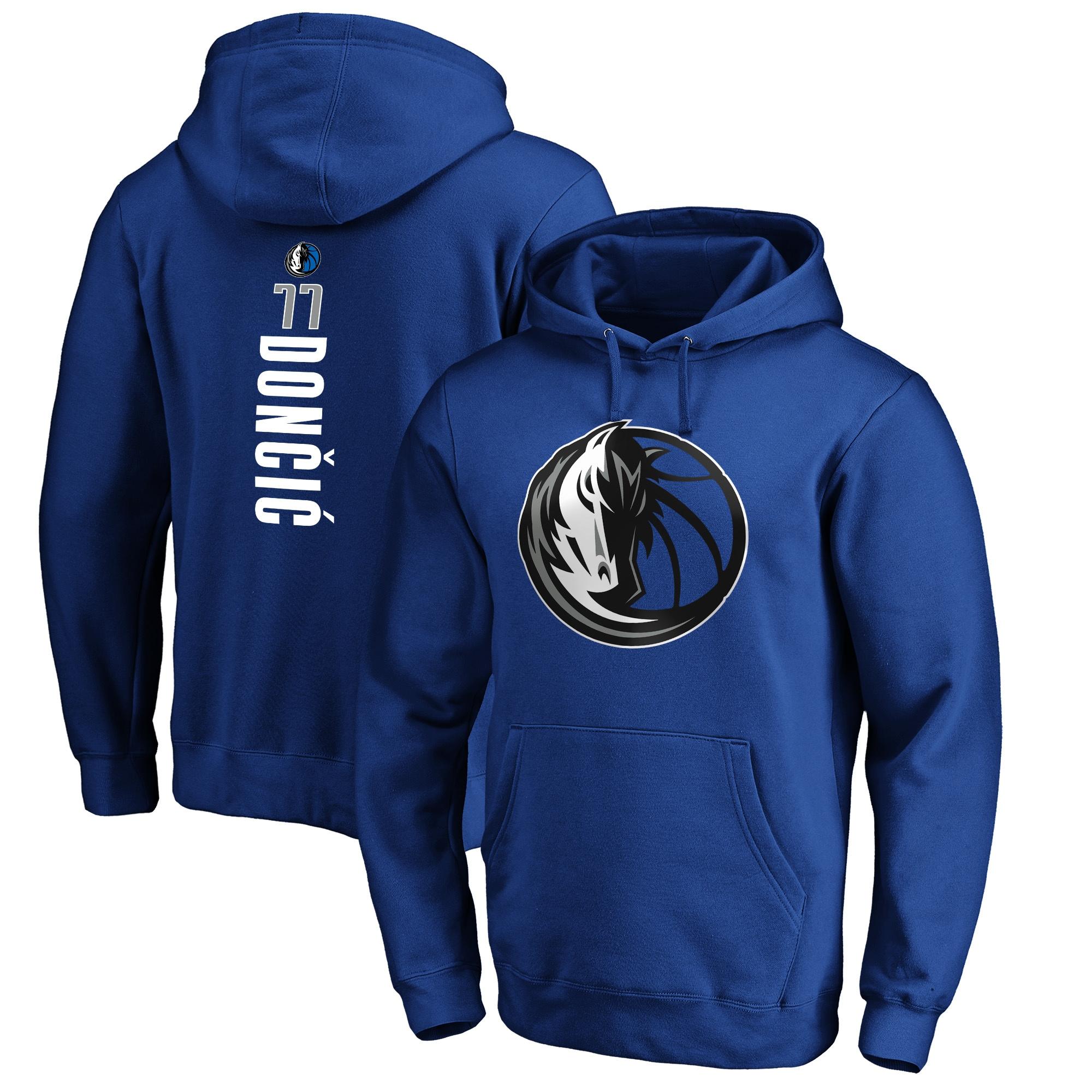 Luka Doncic Dallas Mavericks Fanatics Branded Big & Tall Playmaker Name & Number Pullover Hoodie - Blue