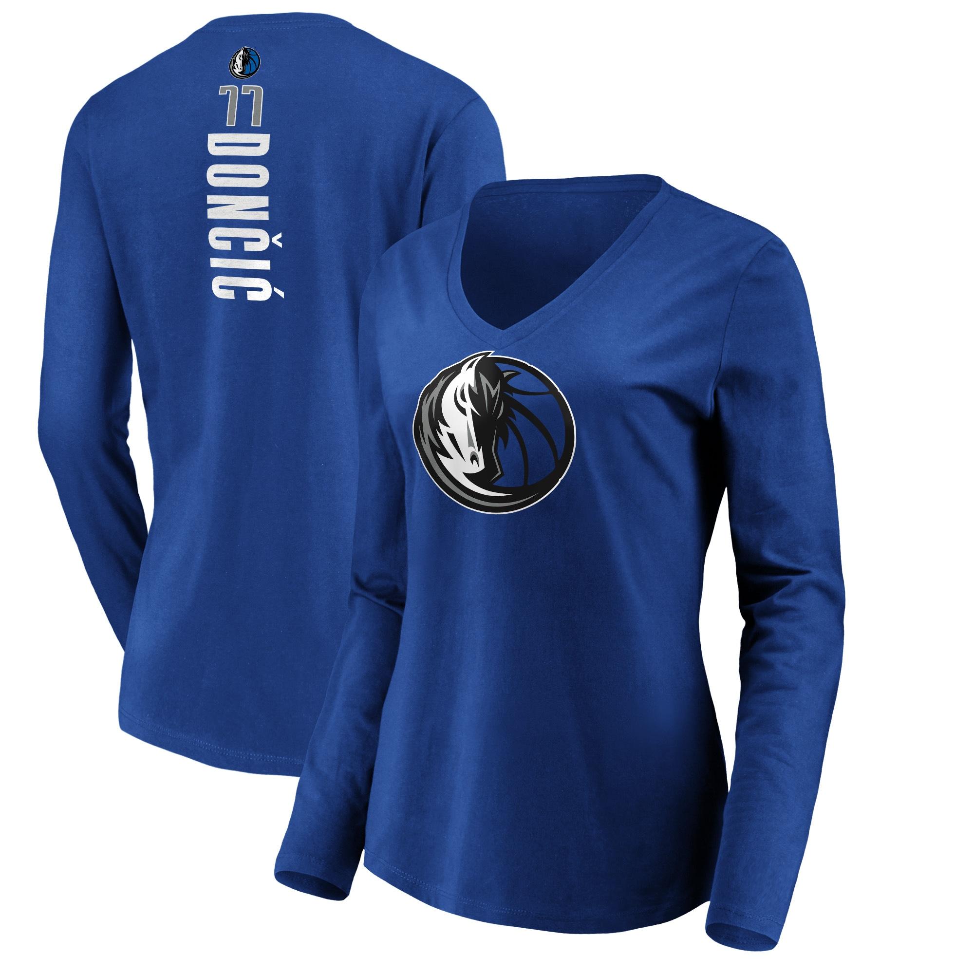 Luka Doncic Dallas Mavericks Fanatics Branded Women's Playmaker Name & Number Long Sleeve V-Neck T-Shirt - Royal