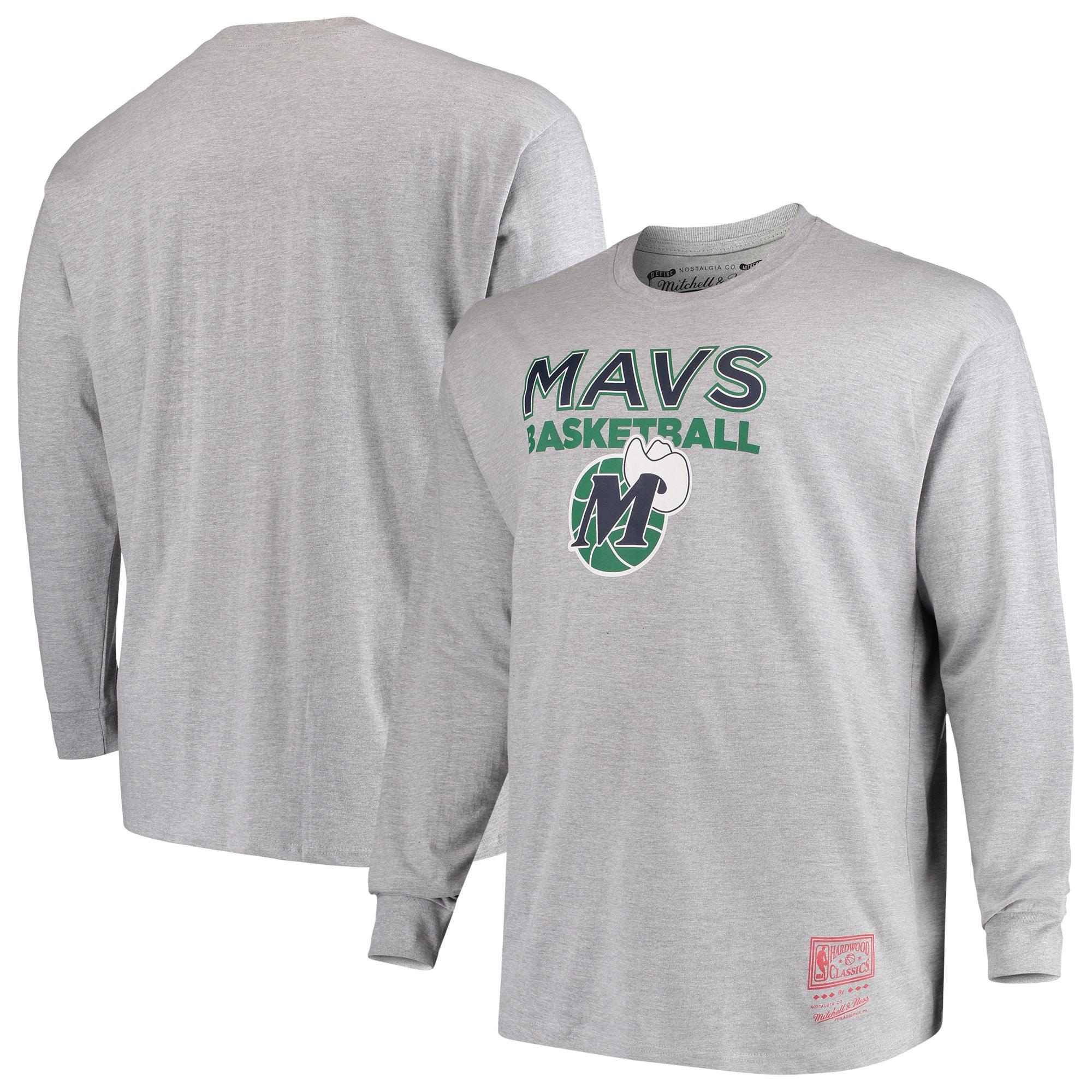 Dallas Mavericks Mitchell & Ness Hometown Classics Big & Tall Thowback Logo Long Sleeve T-Shirt - Heathered Gray