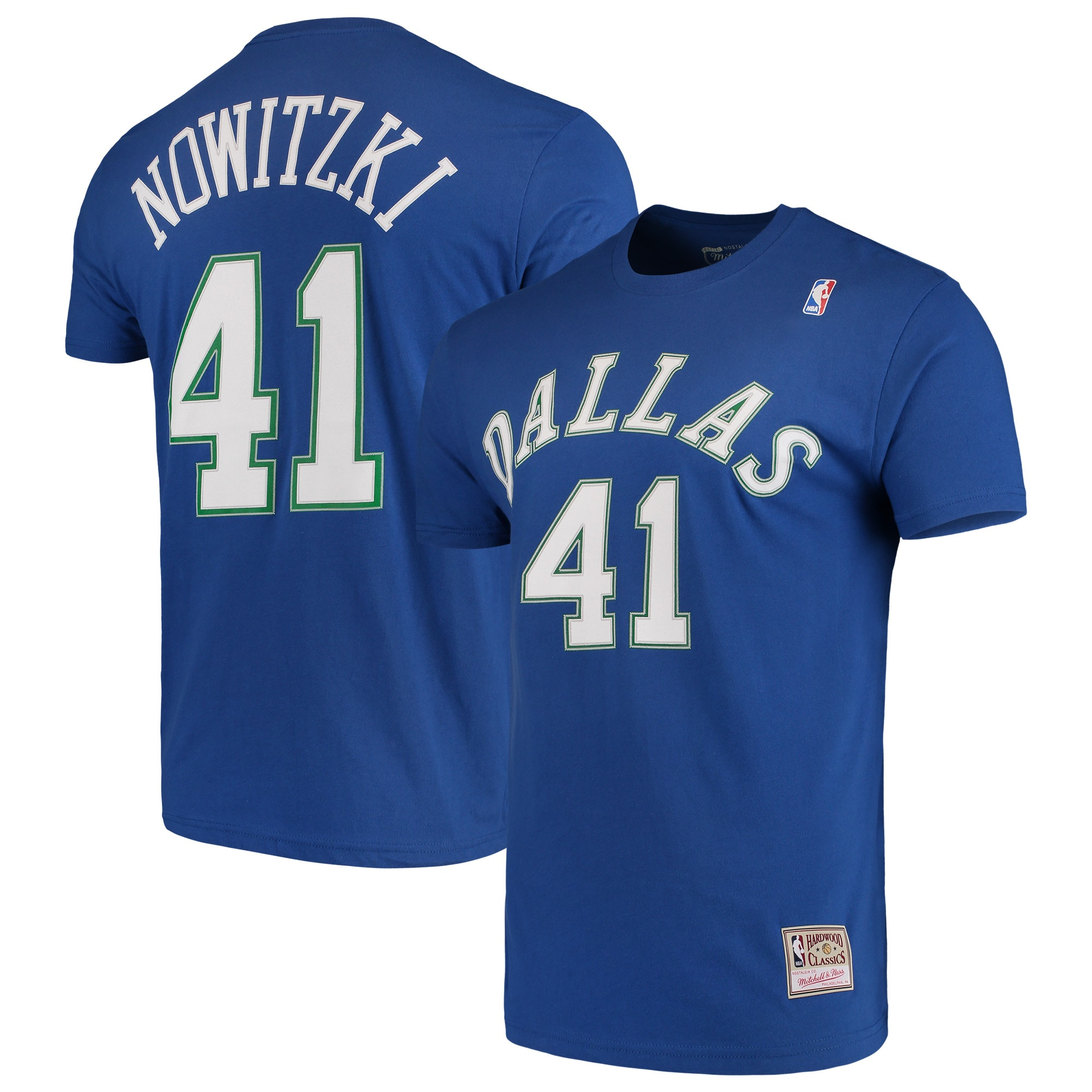 Dirk Nowitzki Dallas Mavericks Mitchell & Ness Hardwood Classics Team Name & Number T-Shirt - Blue
