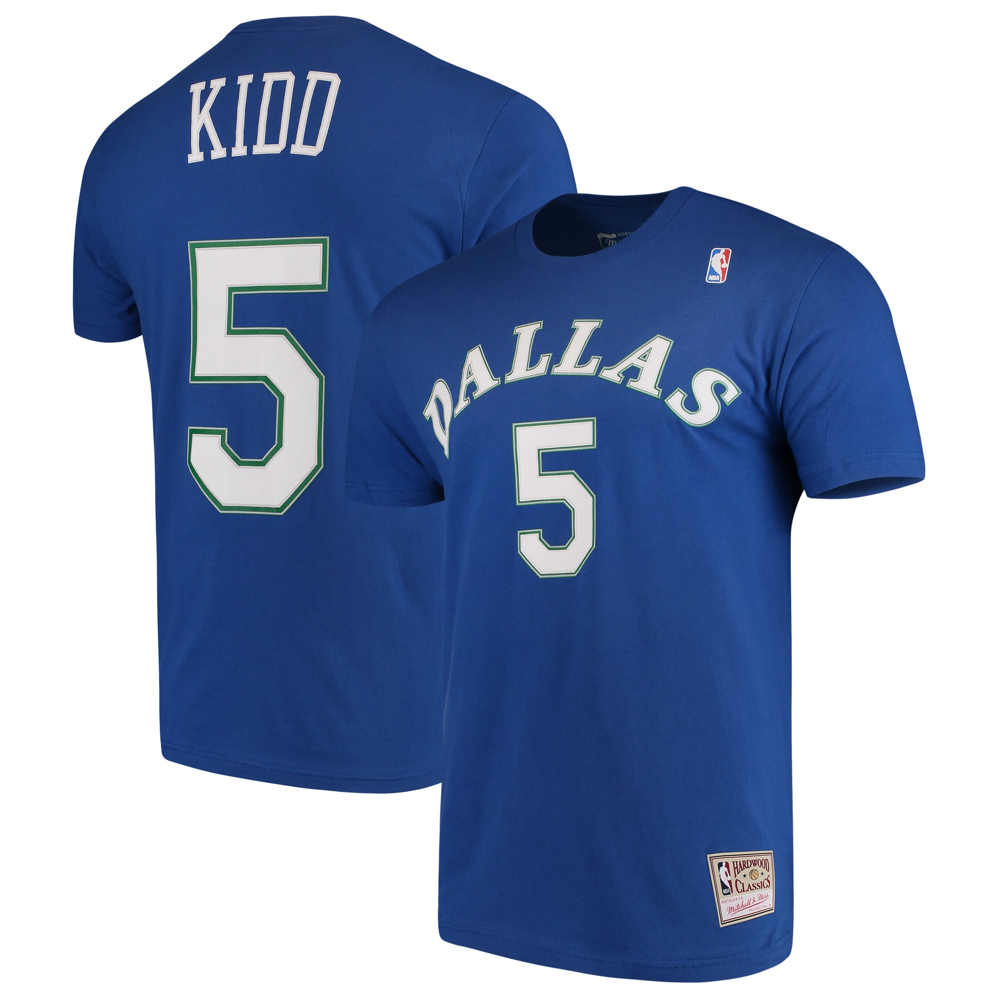 Jason Kidd Dallas Mavericks Mitchell & Ness Hardwood Classics Team Name & Number T-Shirt - Blue