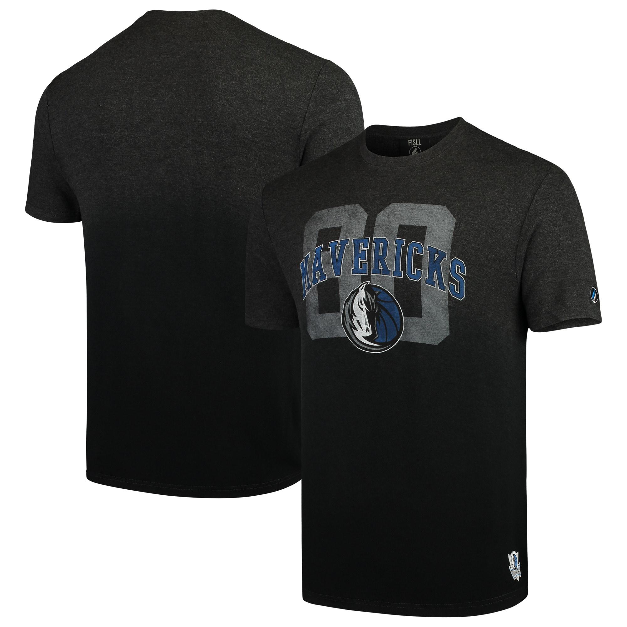 Dallas Mavericks FISLL Dip Dye T-Shirt - Heathered Charcoal/Black