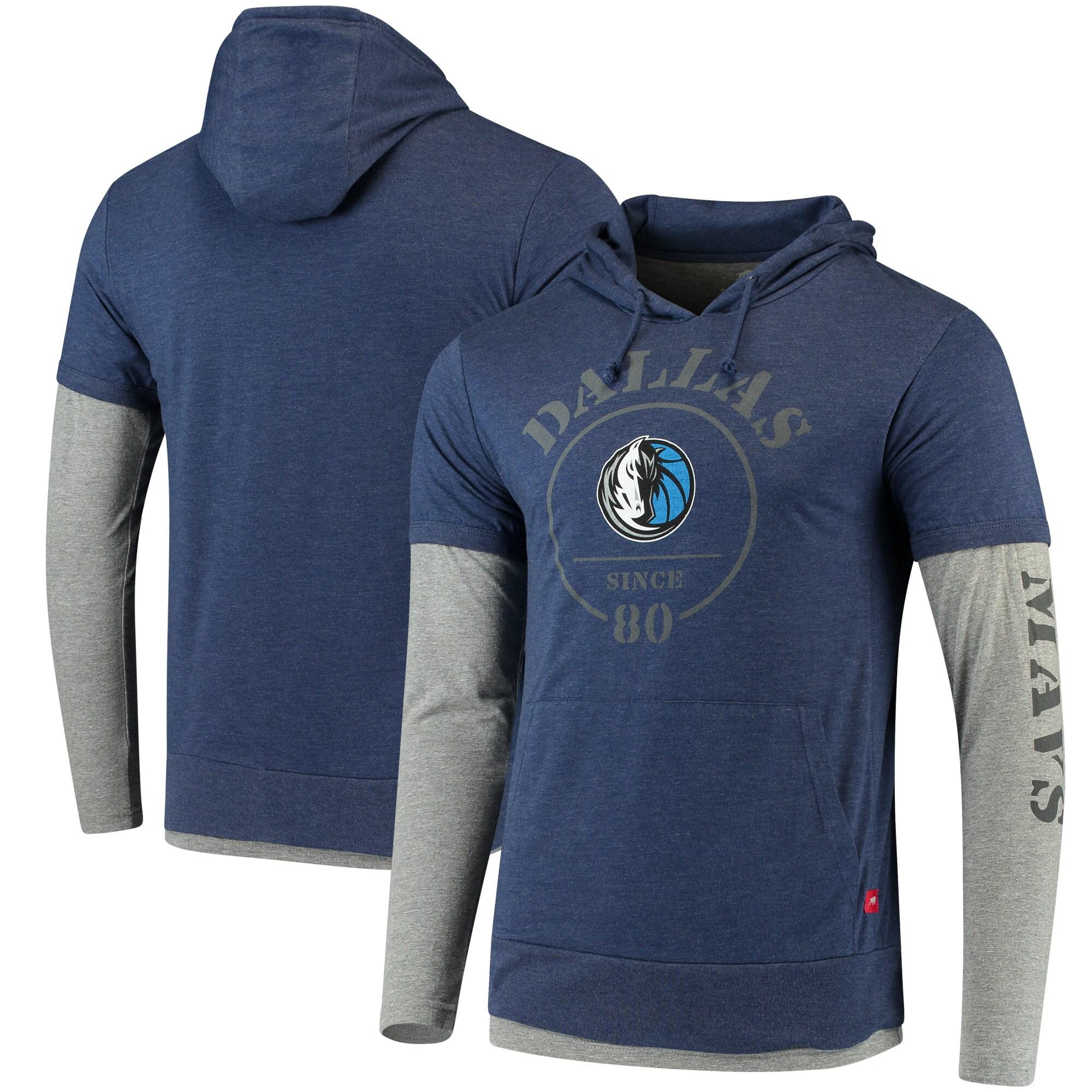 Dallas Mavericks Sportiqe Miller Pullover Tri-Blend Hoodie - Heathered Navy/Heathered Gray