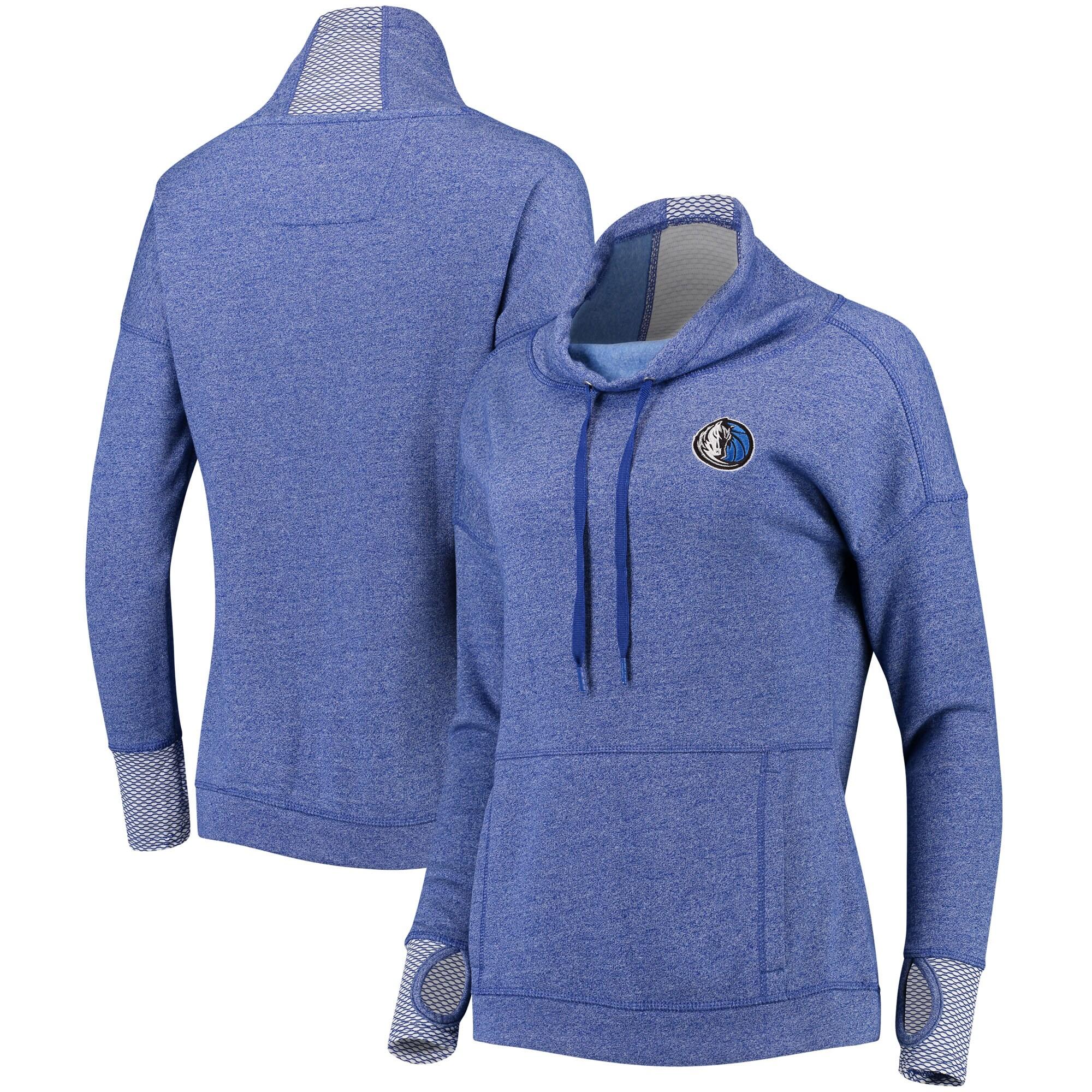 Dallas Mavericks Antigua Women's Snap Cowl Neck Pullover Sweatshirt - Heathered Royal