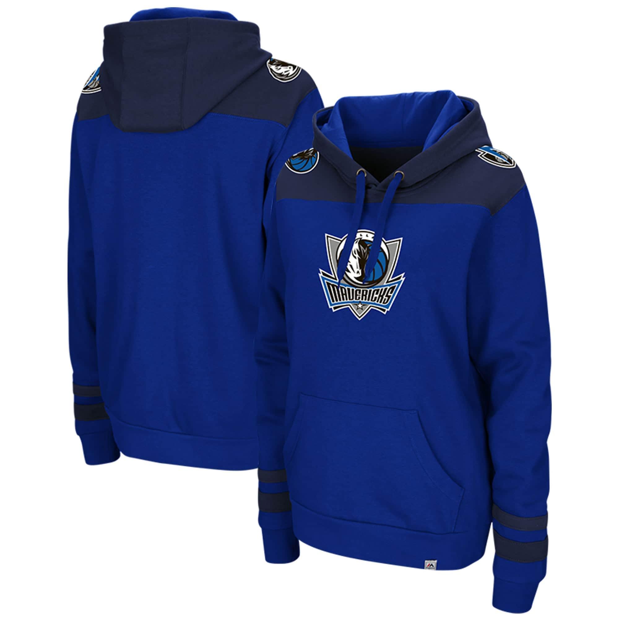 Dallas Mavericks Majestic Triple Double Pullover Hoodie - Blue/Navy
