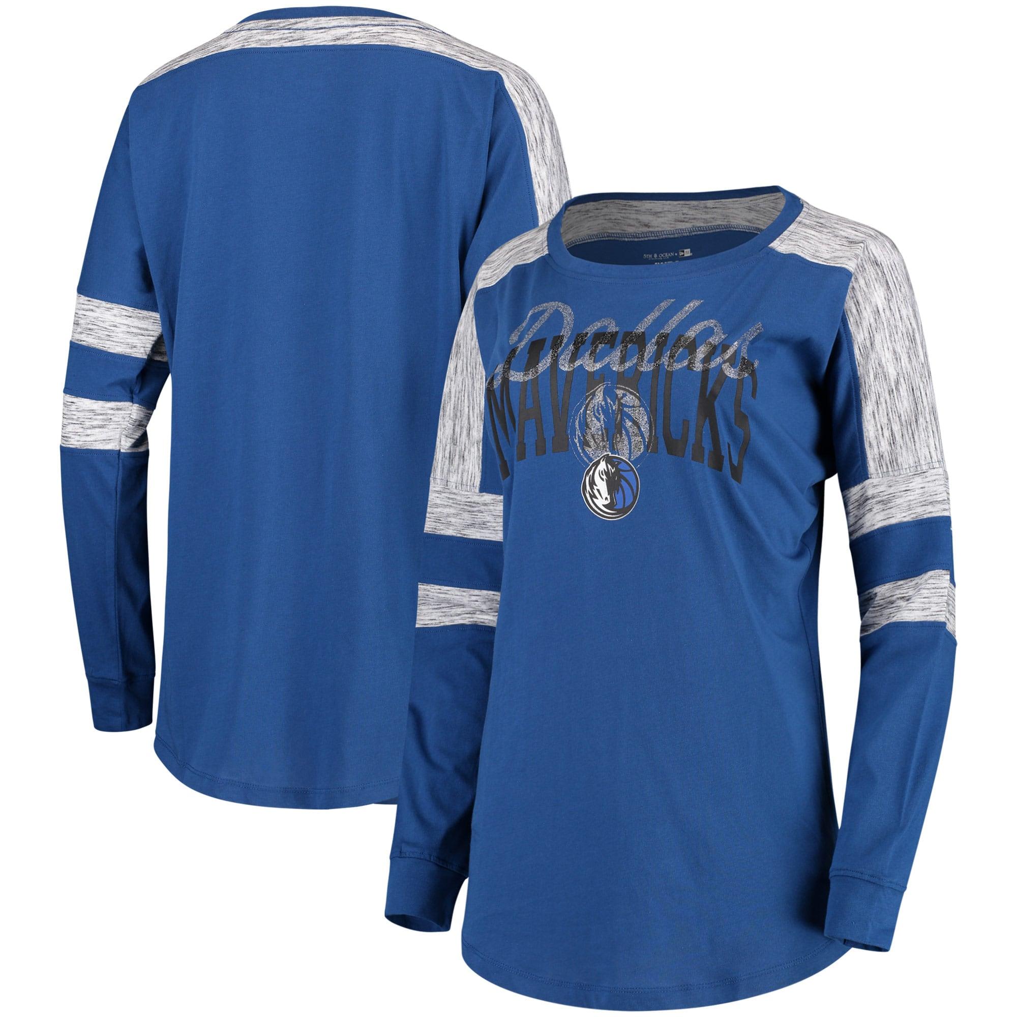 Dallas Mavericks 5th & Ocean by New Era Women's Space Dye Baby Jersey Long Sleeve T-Shirt - Blue