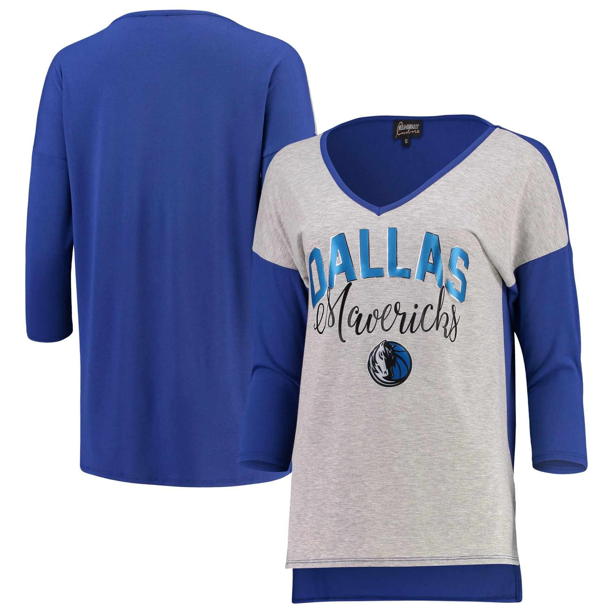 Dallas Mavericks Women's Meet Your Match Colorblock 3/4-Sleeve Tri-Blend V-Neck T-Shirt - Heathered Gray