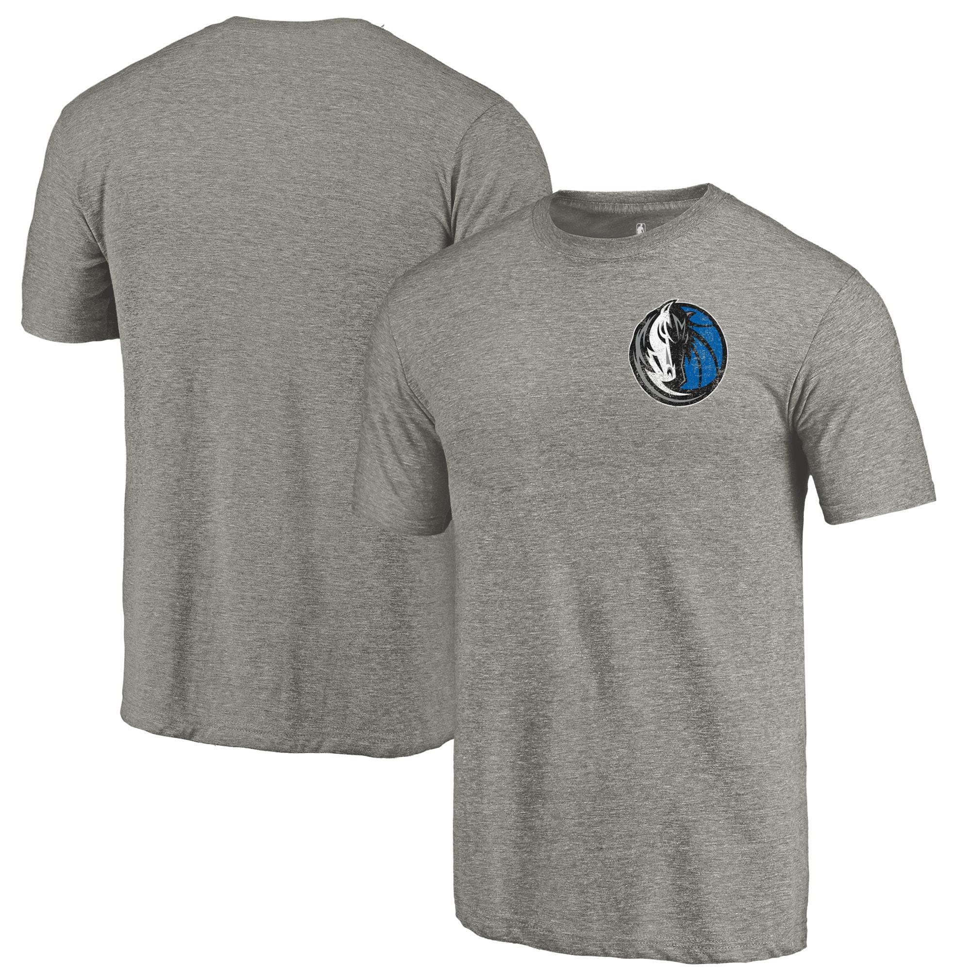 Dallas Mavericks Fanatics Branded Primary Logo Left Chest Distressed Tri-Blend T-Shirt - Gray