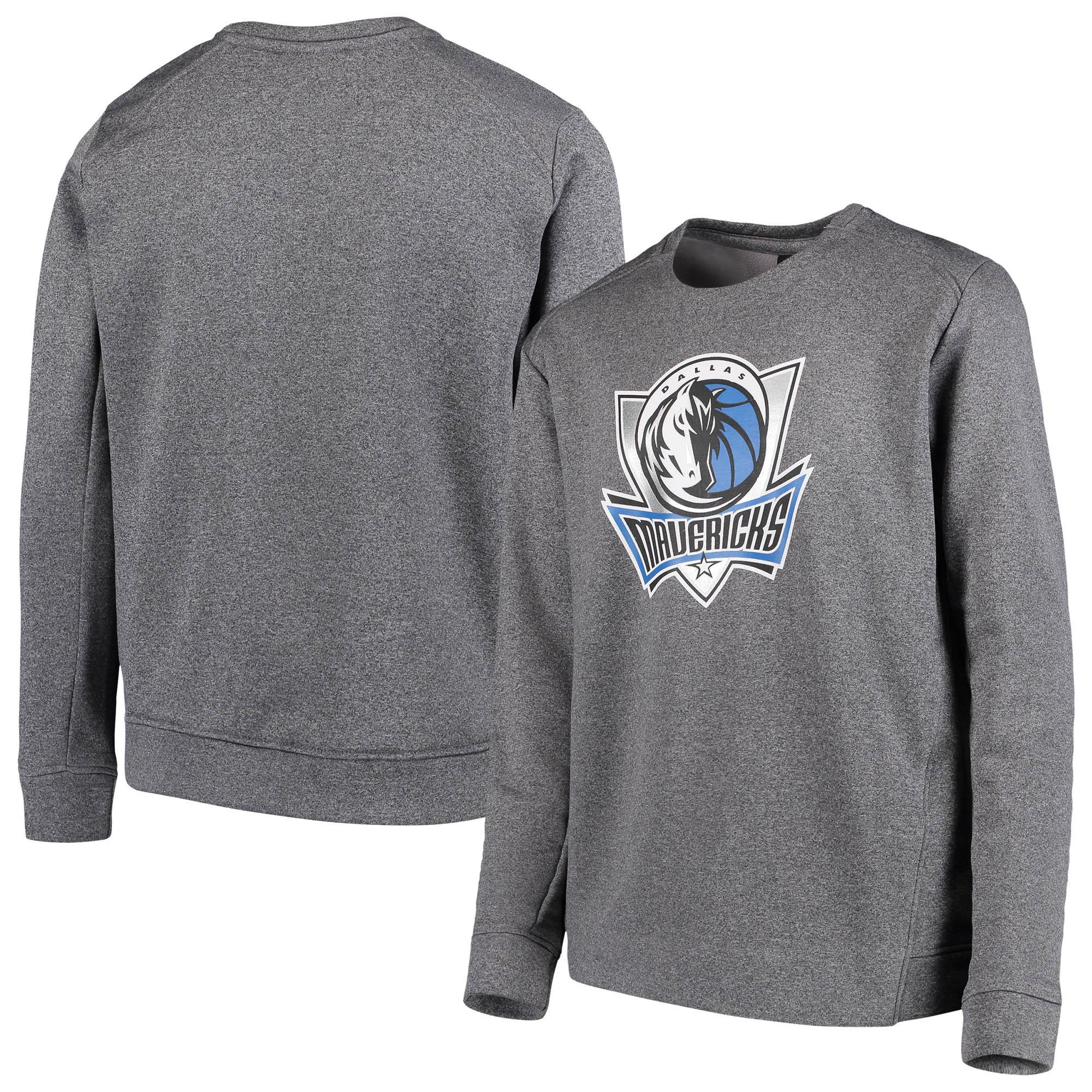 Dallas Mavericks Youth Performance Fleece Crew Sweatshirt - Heathered Gray