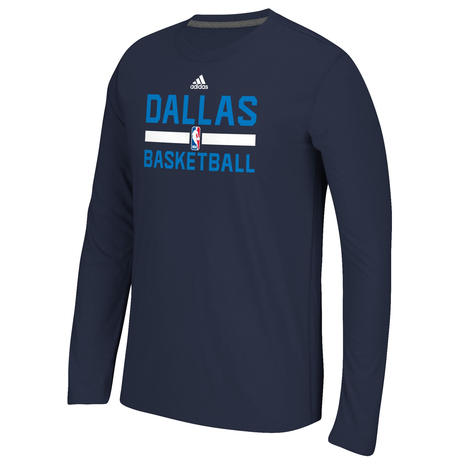 Dallas Mavericks adidas Youth Wordmark Practice Wear Long Sleeve climalite T-Shirt - Navy