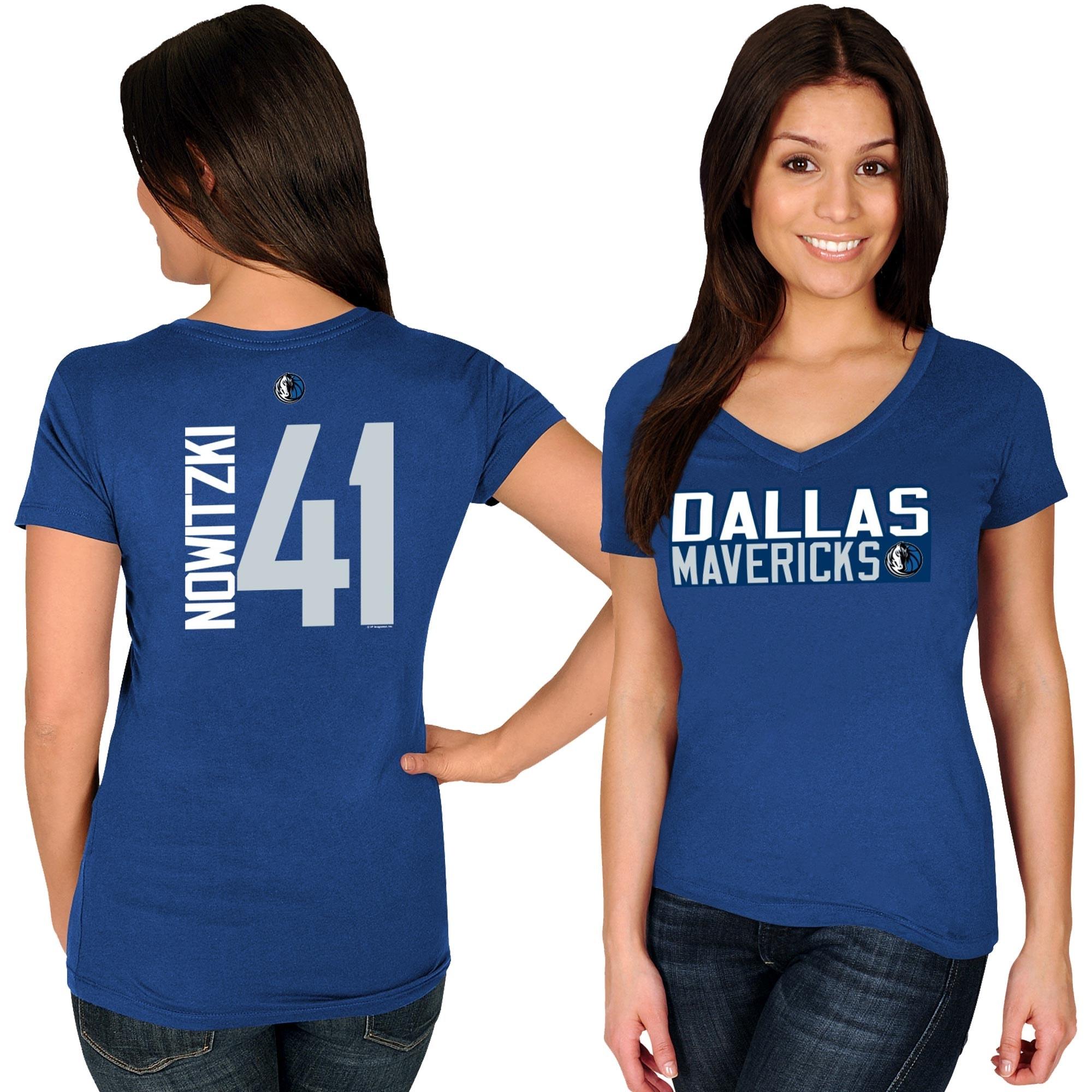 Dirk Nowitzki Dallas Mavericks Majestic Women's Name & Number V-Neck T-Shirt - Blue