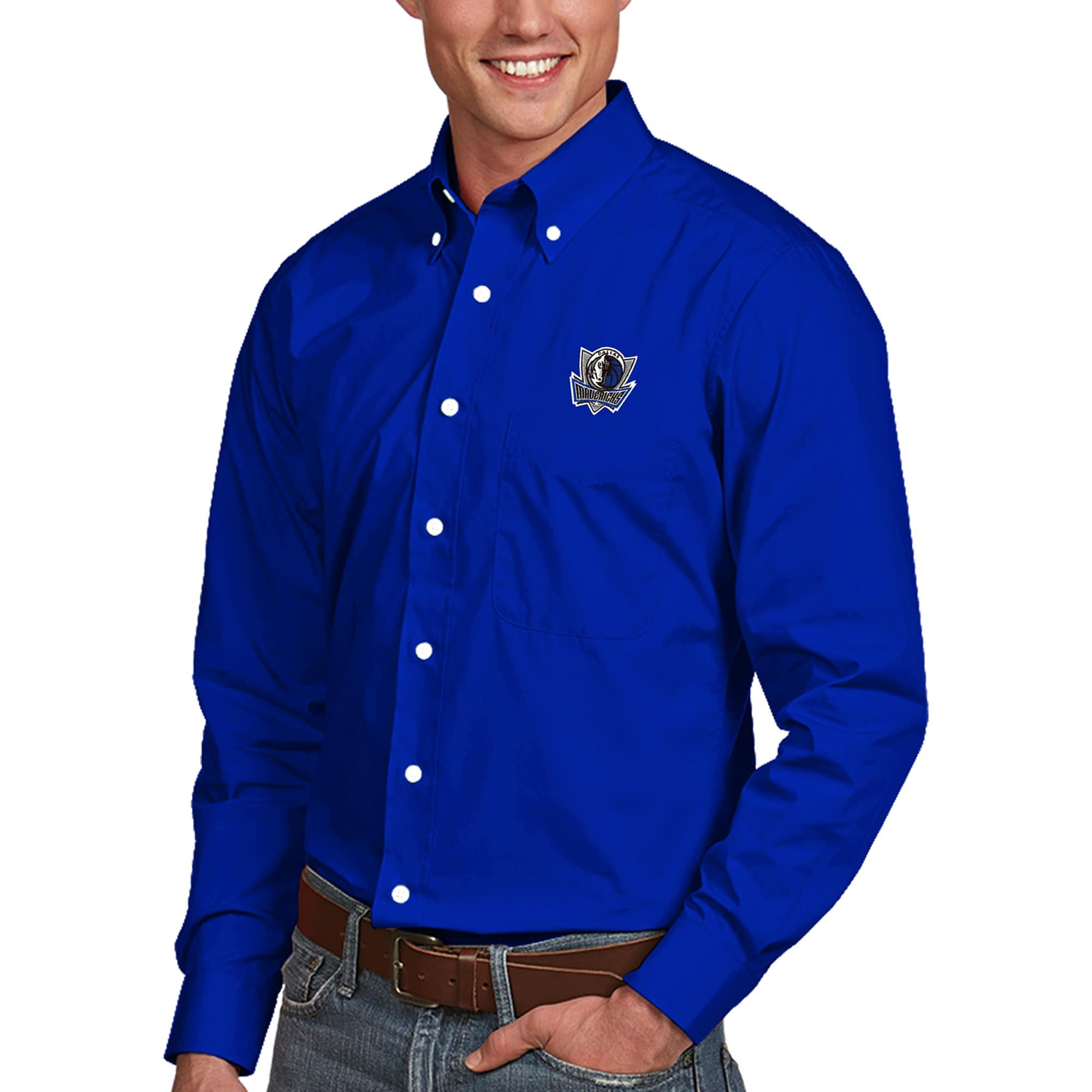 Dallas Mavericks Antigua Dynasty Button-Down Long Sleeve Shirt - Royal