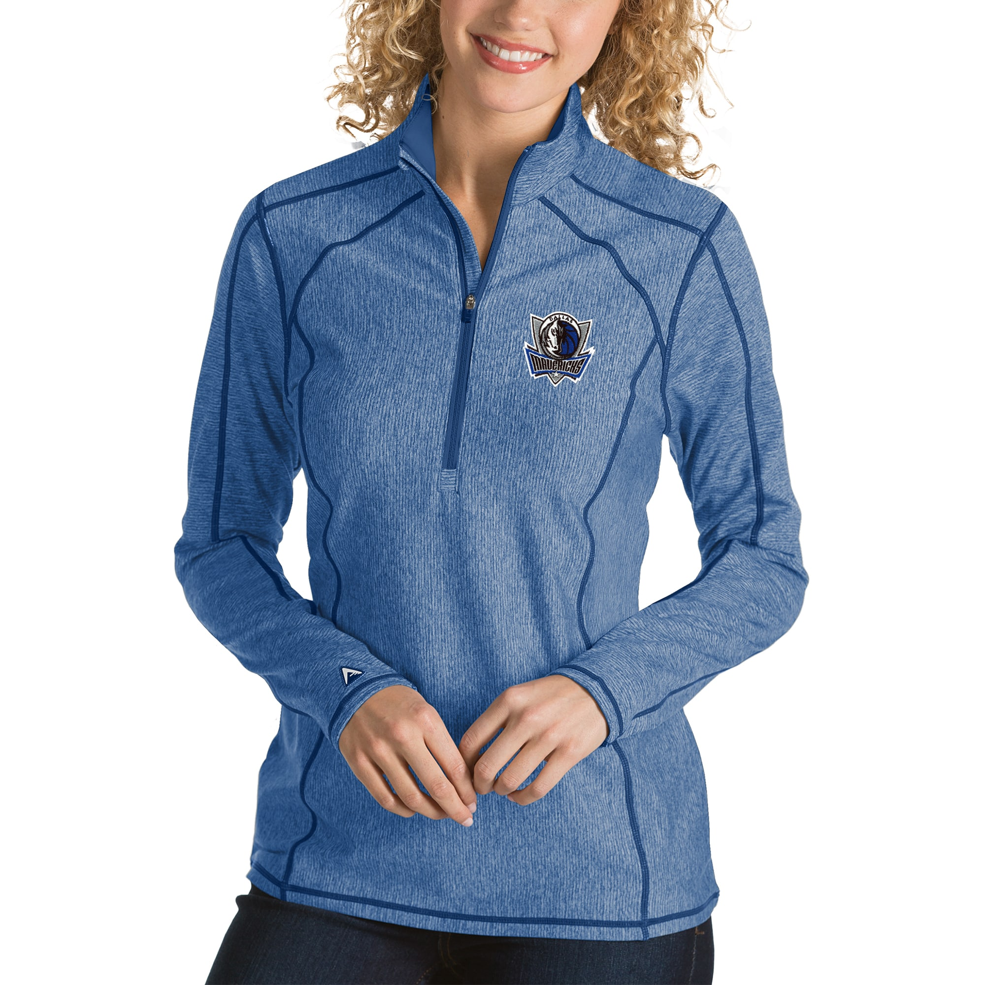 Dallas Mavericks Antigua Women's Tempo Half-Zip Pullover Jacket - Heather Royal