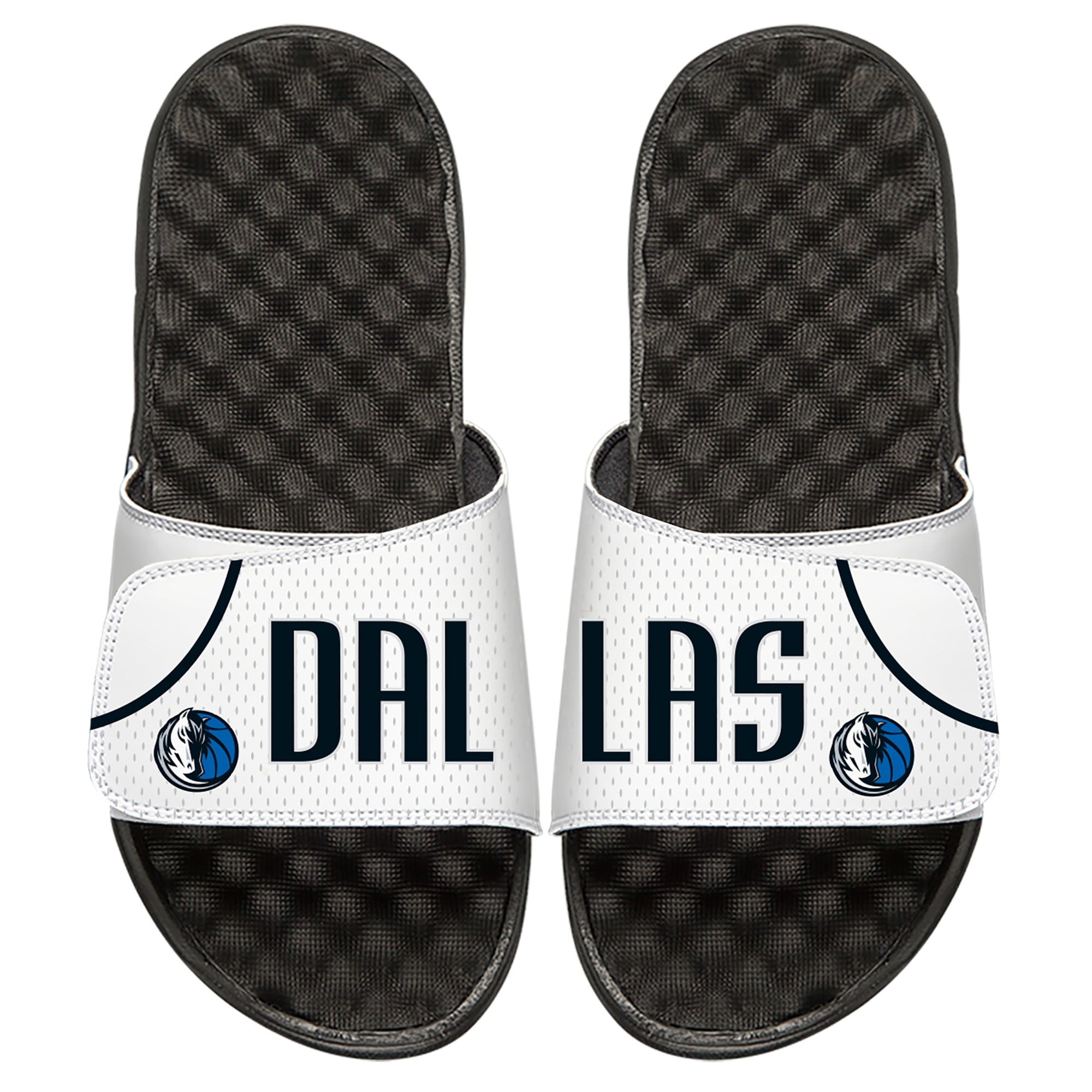 Dallas Mavericks ISlide Home Jersey Split Slide Sandals - White
