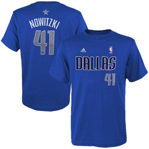 Dirk Nowitzki Dallas Mavericks adidas Youth Game Time Flat Name & Number T-Shirt - Royal