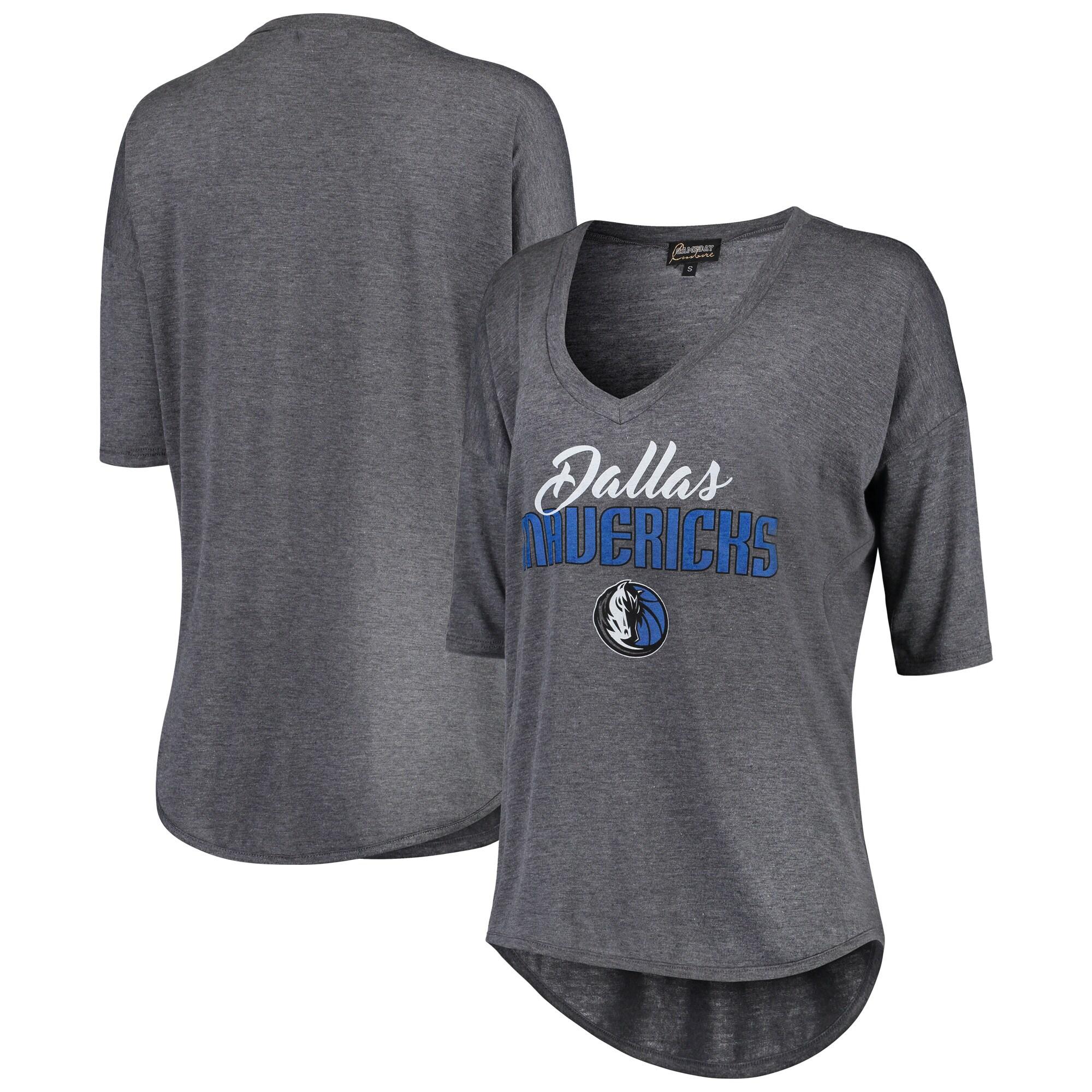 Dallas Mavericks Women's Deep V-Neck Tri-Blend Half-Sleeve T-Shirt - Gray