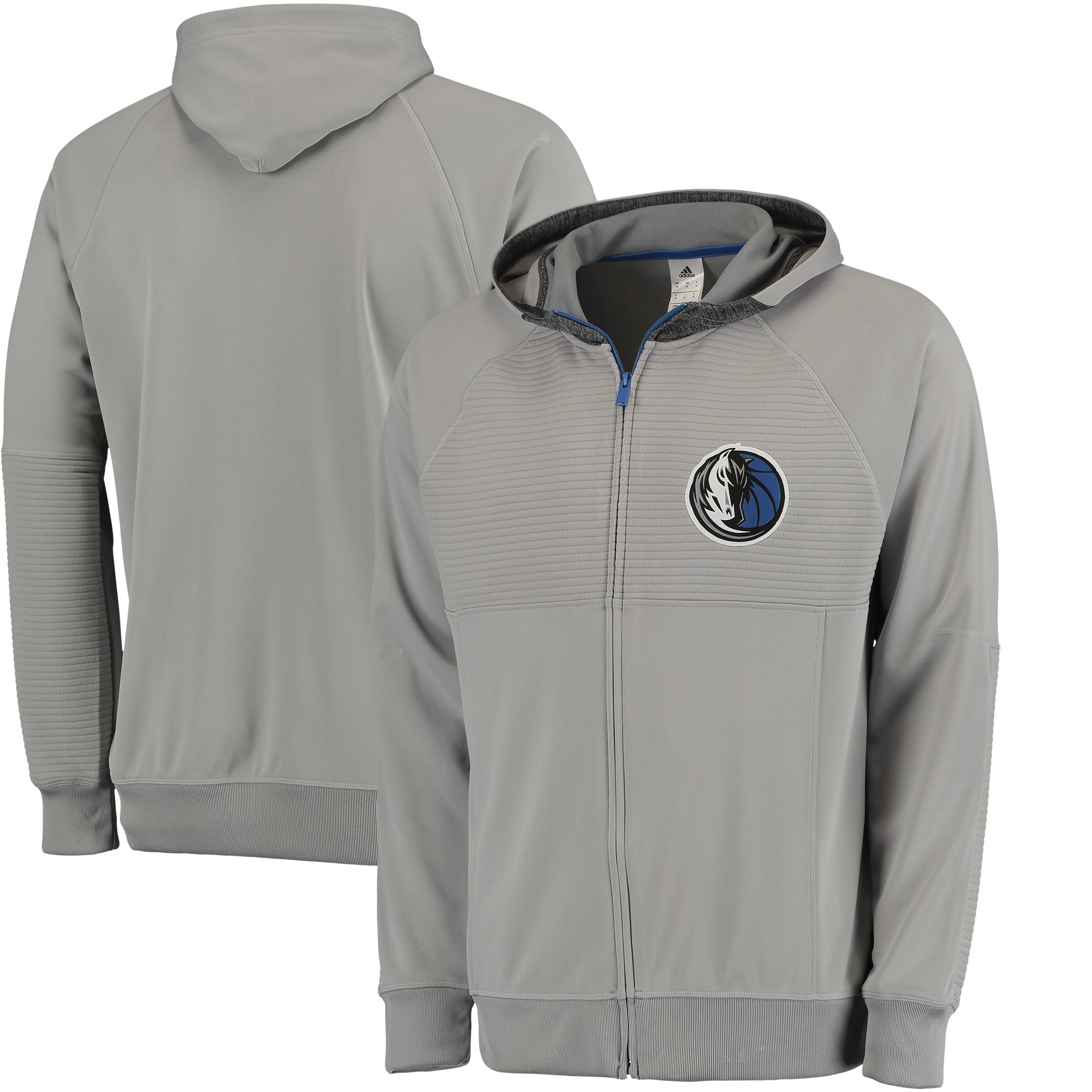 Dallas Mavericks adidas 2016 Pre-Game Full-Zip Hooded Jacket - Gray