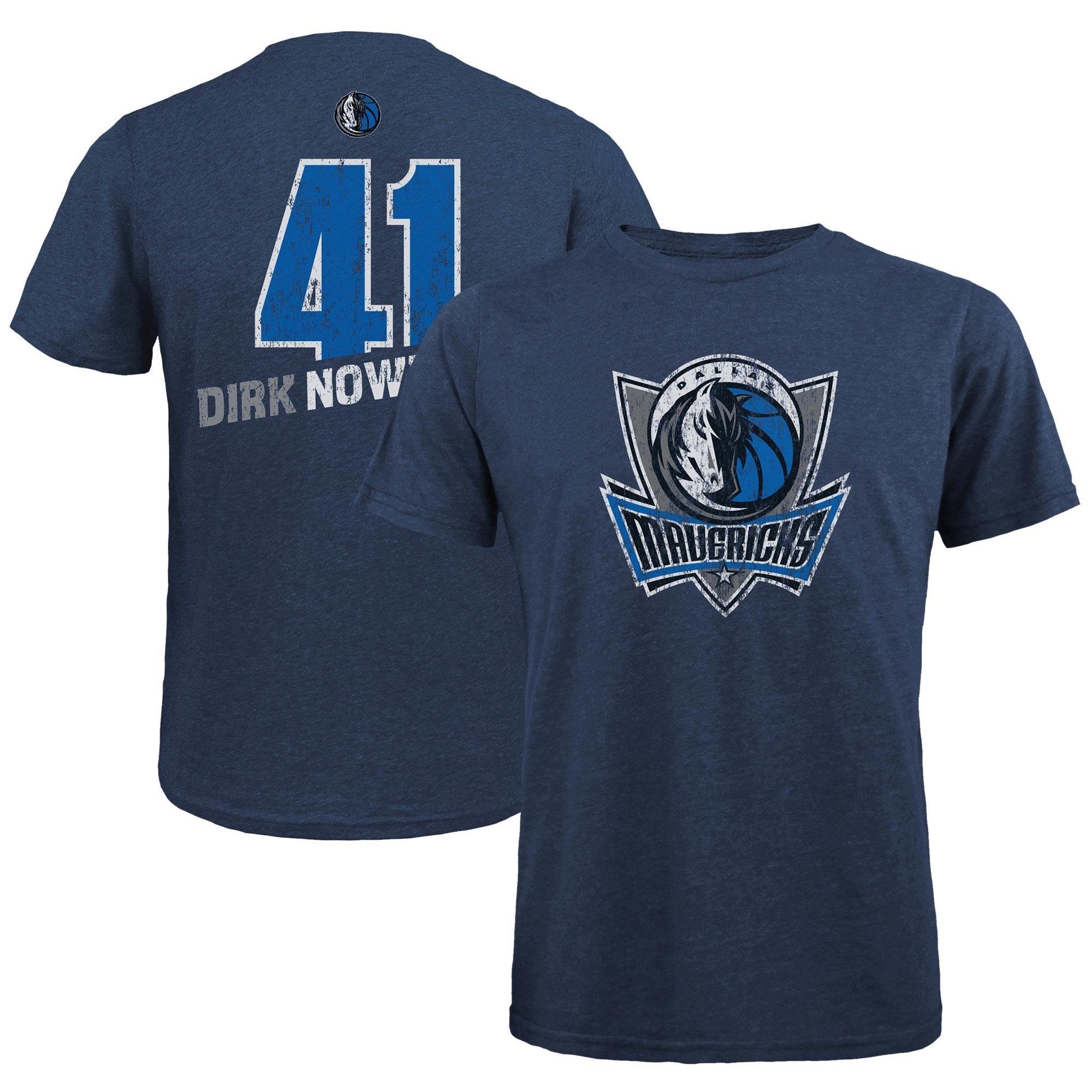 Dirk Nowitzki Dallas Mavericks Majestic Threads Name & Number Tri-Blend T-Shirt - Navy